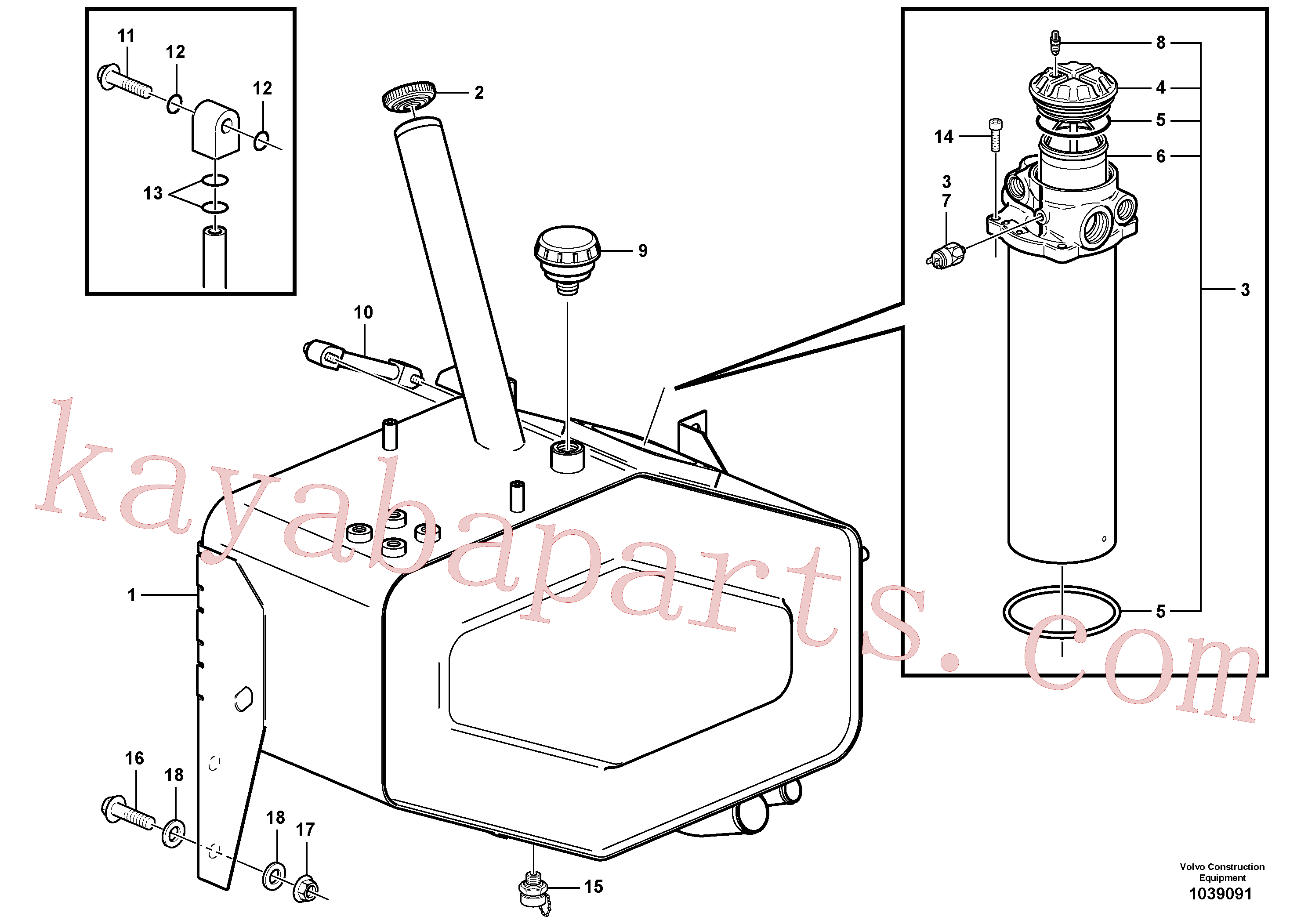 VOE14532362 for Volvo Hydraulic oil tank, with fitting parts(1039091 assembly)