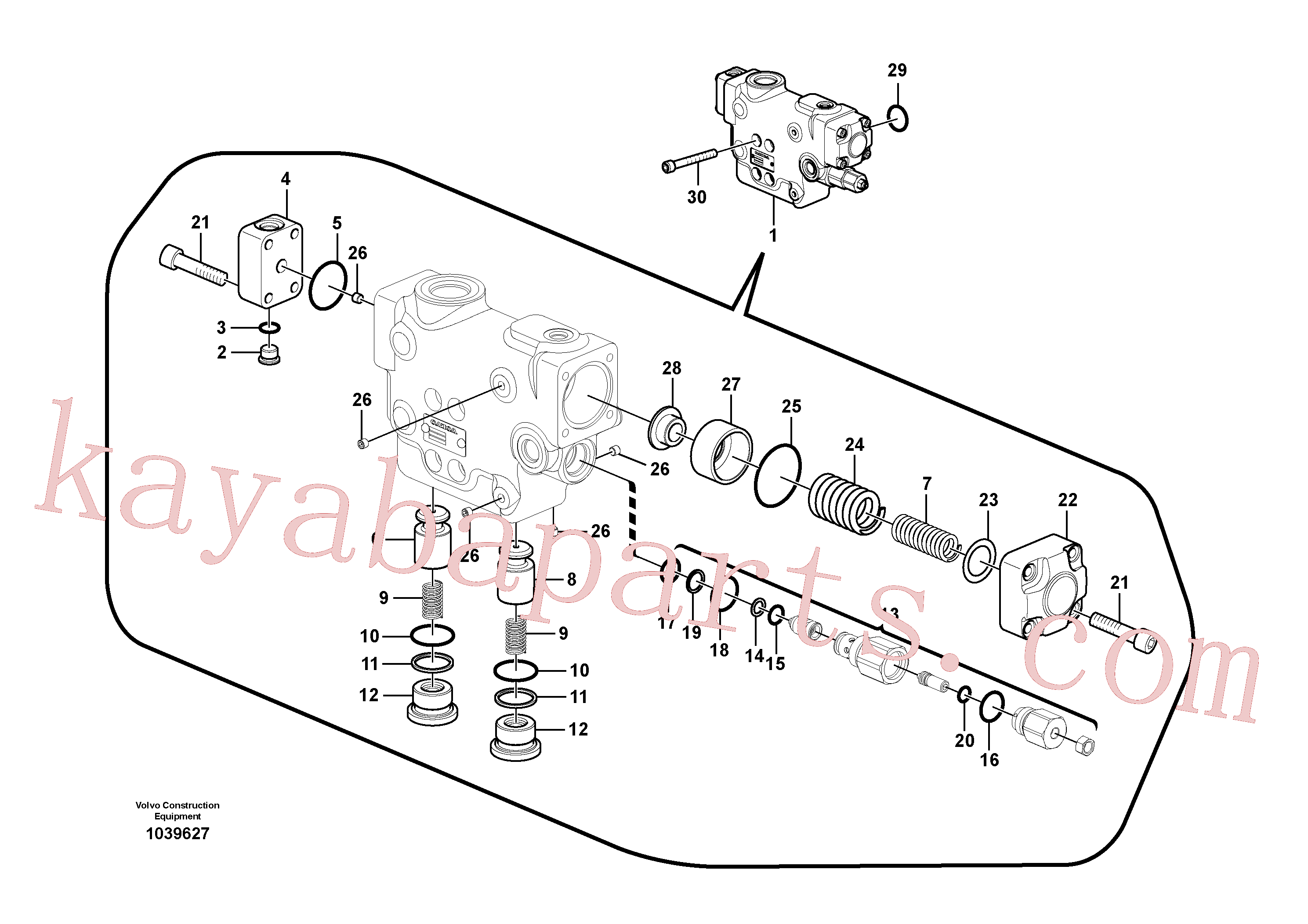 VOE14535270 for Volvo Working hydraulic, dipper arm rupture valve mount.(1039627 assembly)