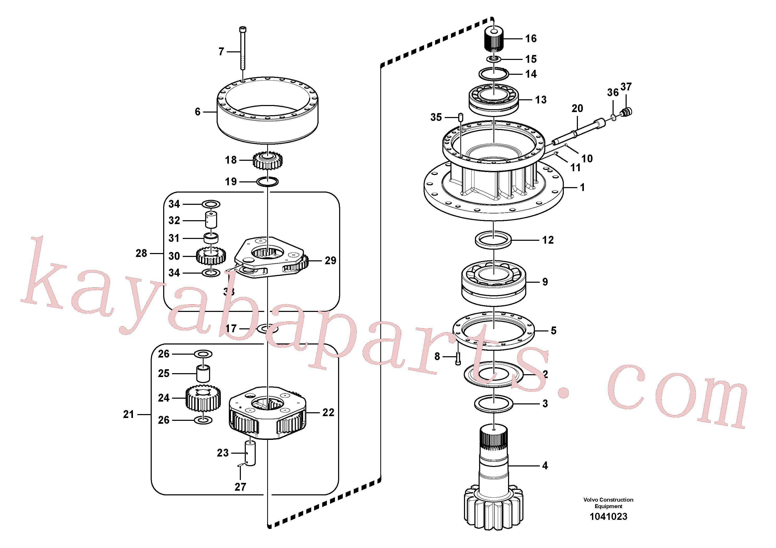 VOE14566202 for Volvo Swing gearbox(1041023 assembly)