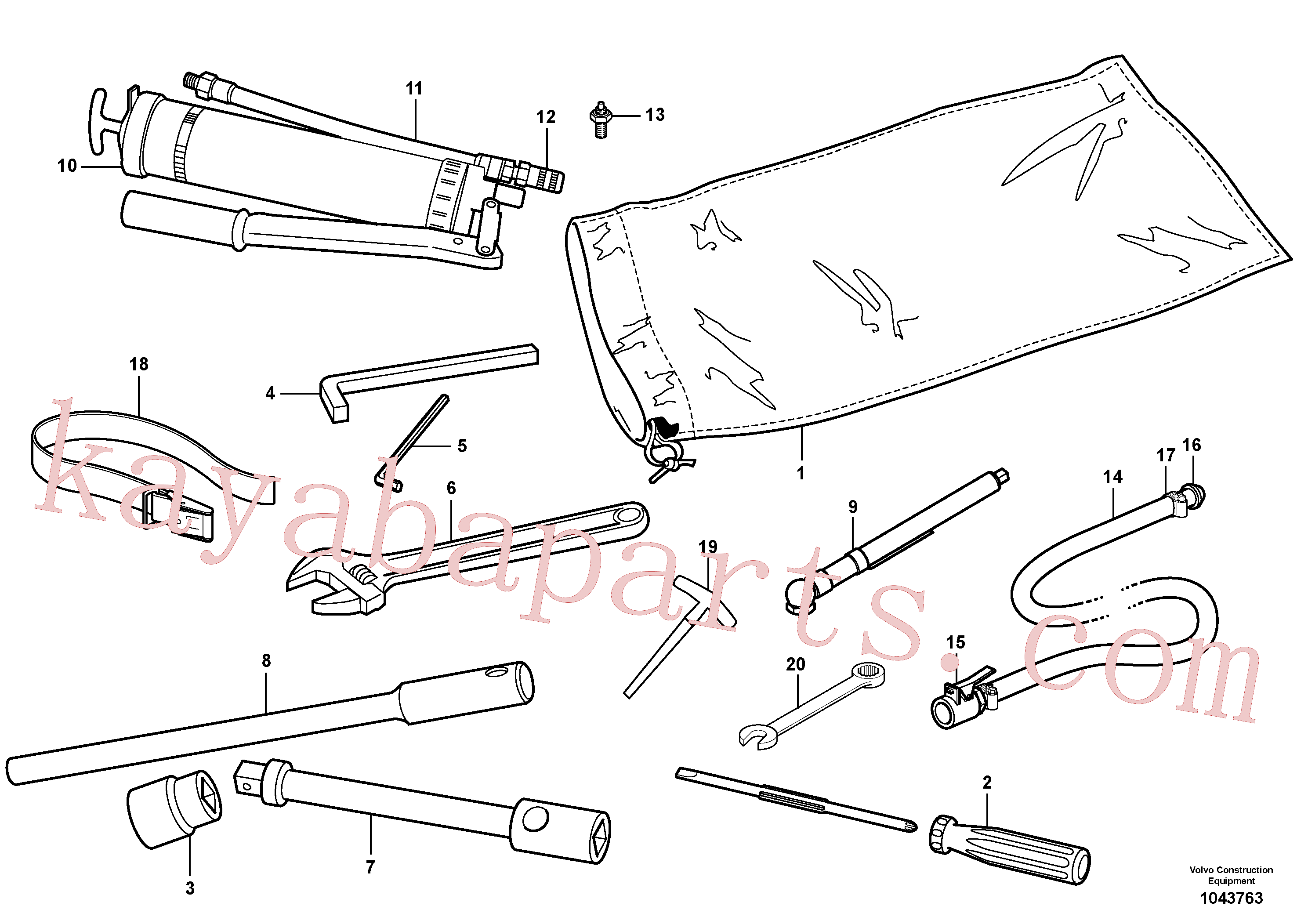 VOE190708 for Volvo Tool kit(1043763 assembly)