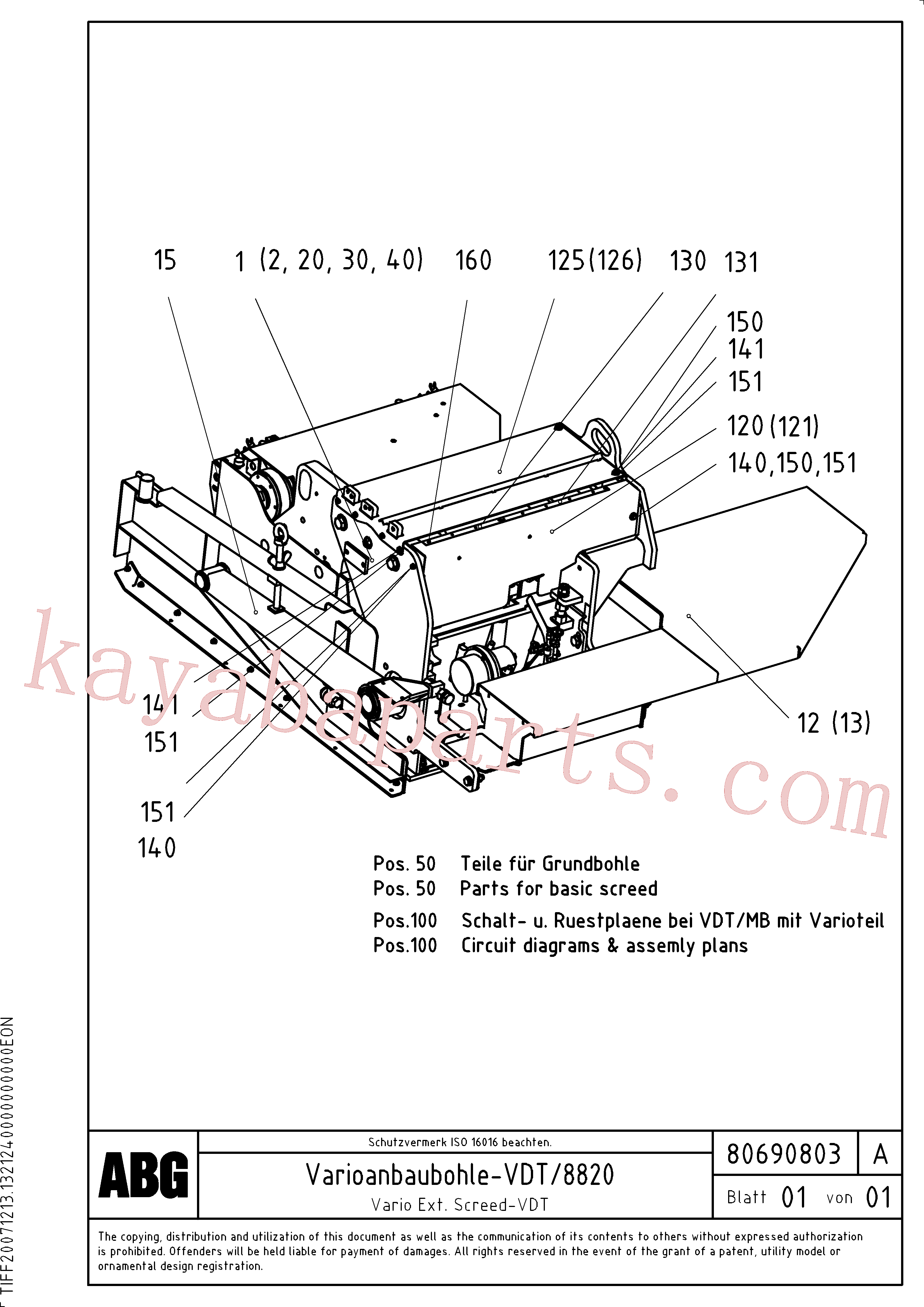 RM80716152 for Volvo Vario extended screed(1047104 assembly)
