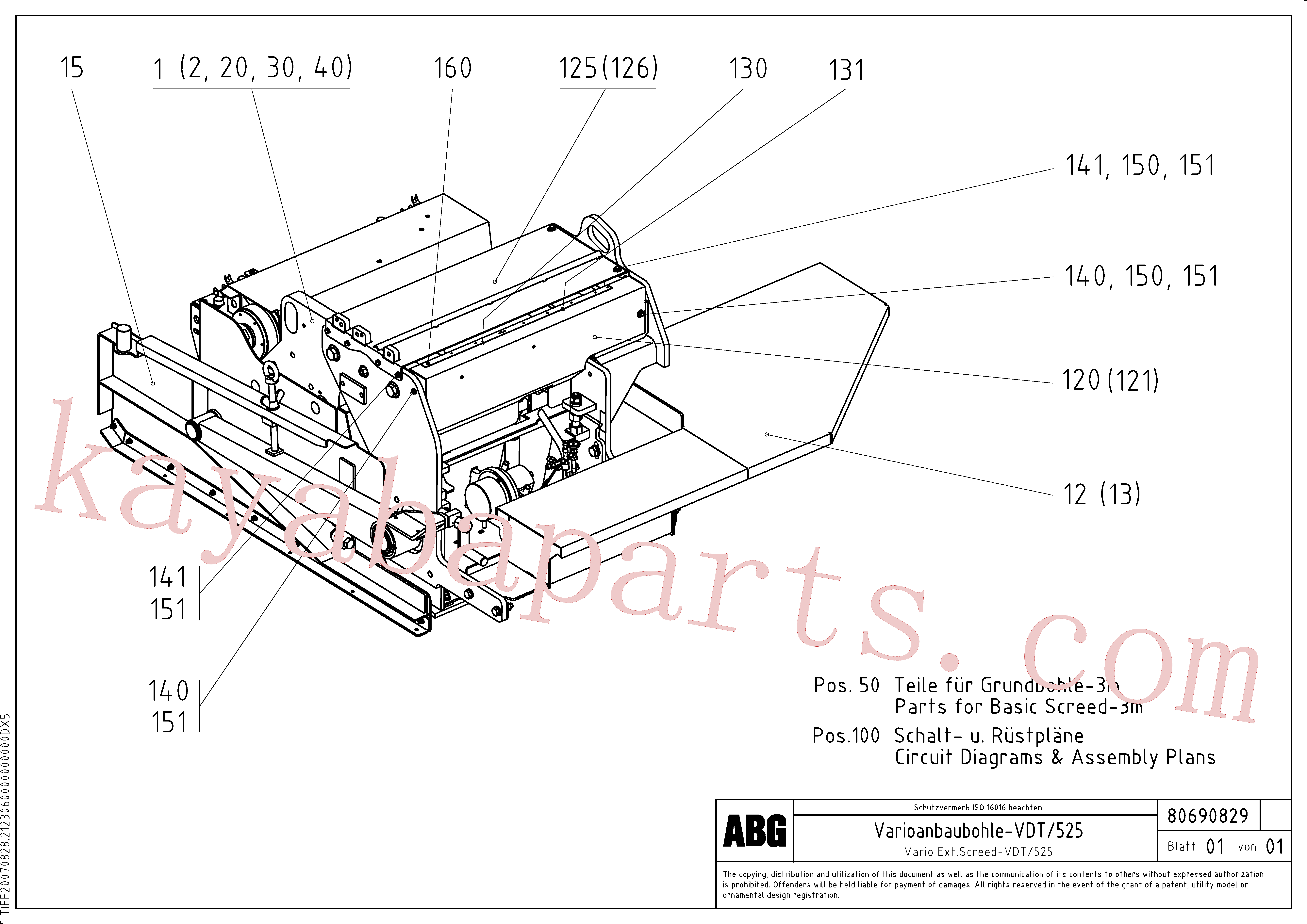RM80716152 for Volvo Extendable screed(1047106 assembly)