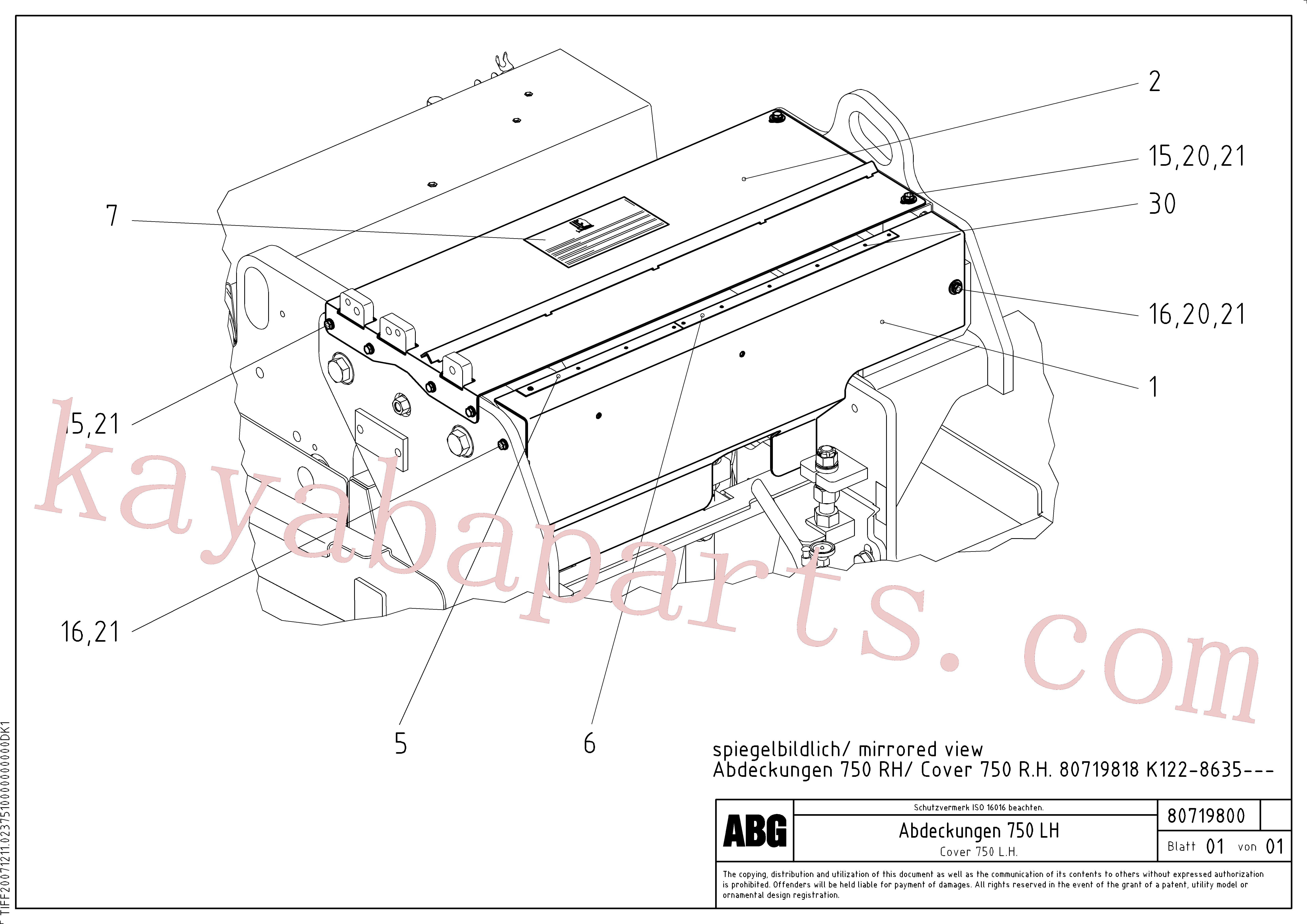 RM80716152 for Volvo Protective cover for extension(1047381 assembly)