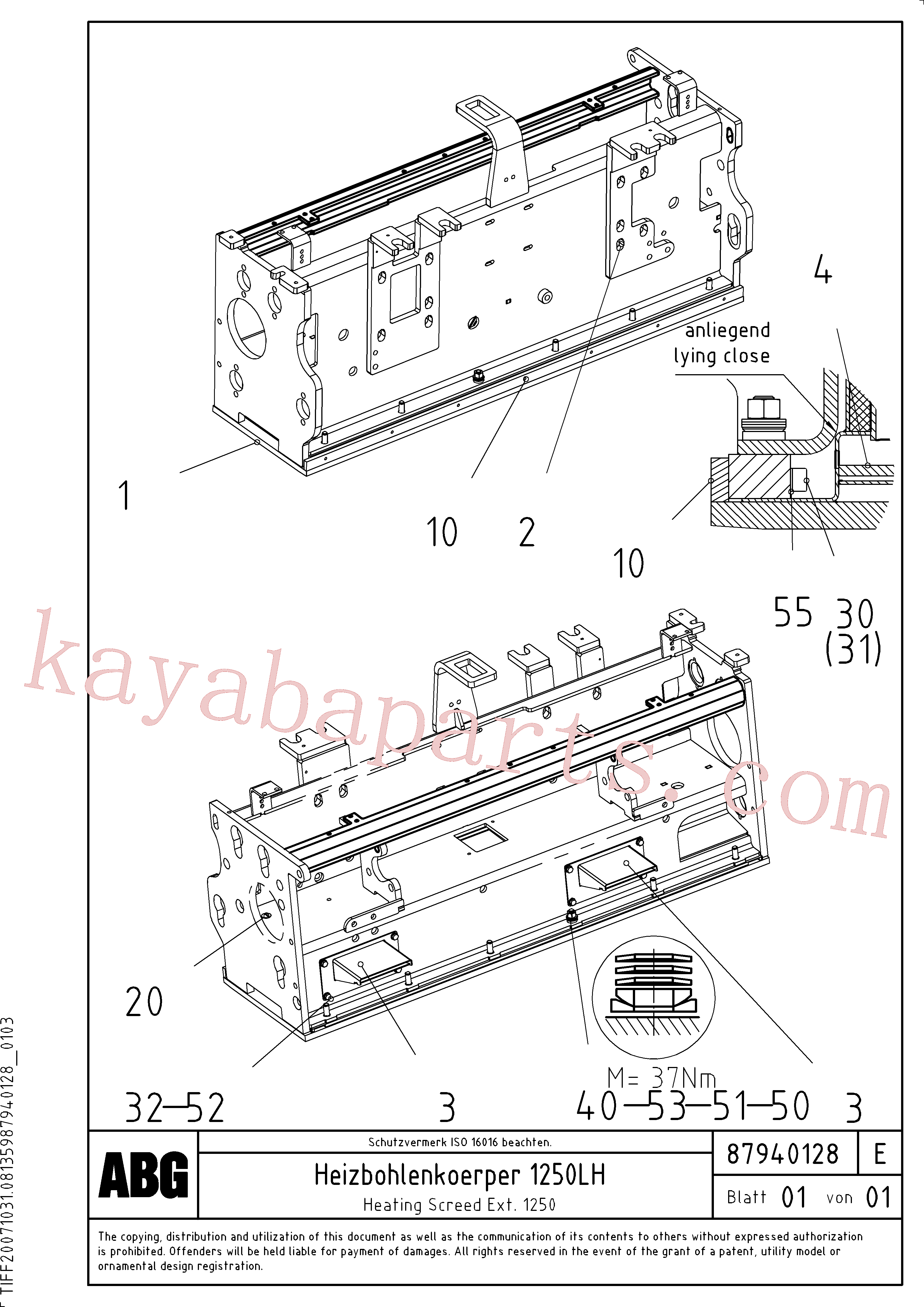 RM80854011 for Volvo Heating screed for extension(1047915 assembly)