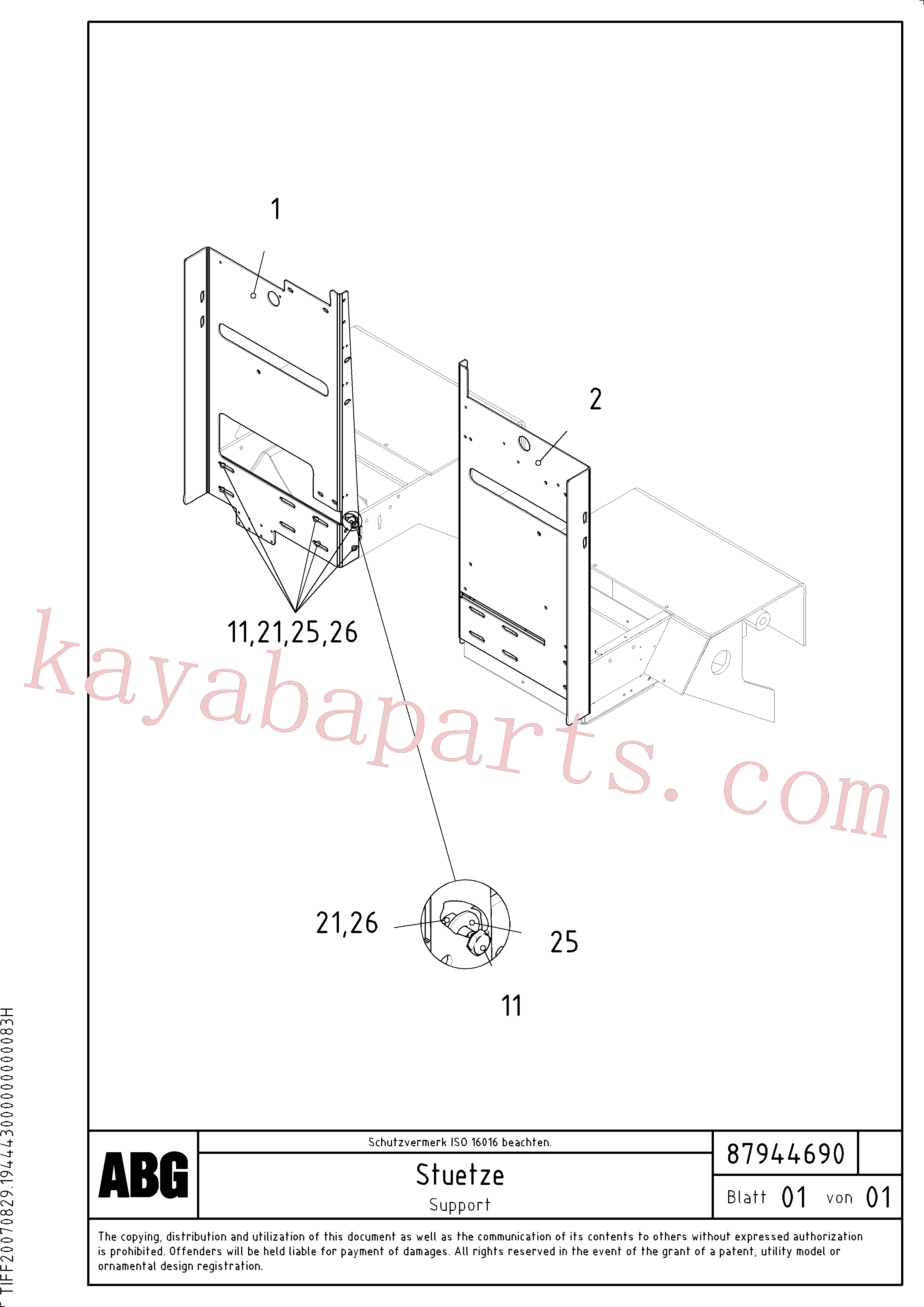RM96726179 for Volvo Support for electric distribution box on paver(1048023 assembly)