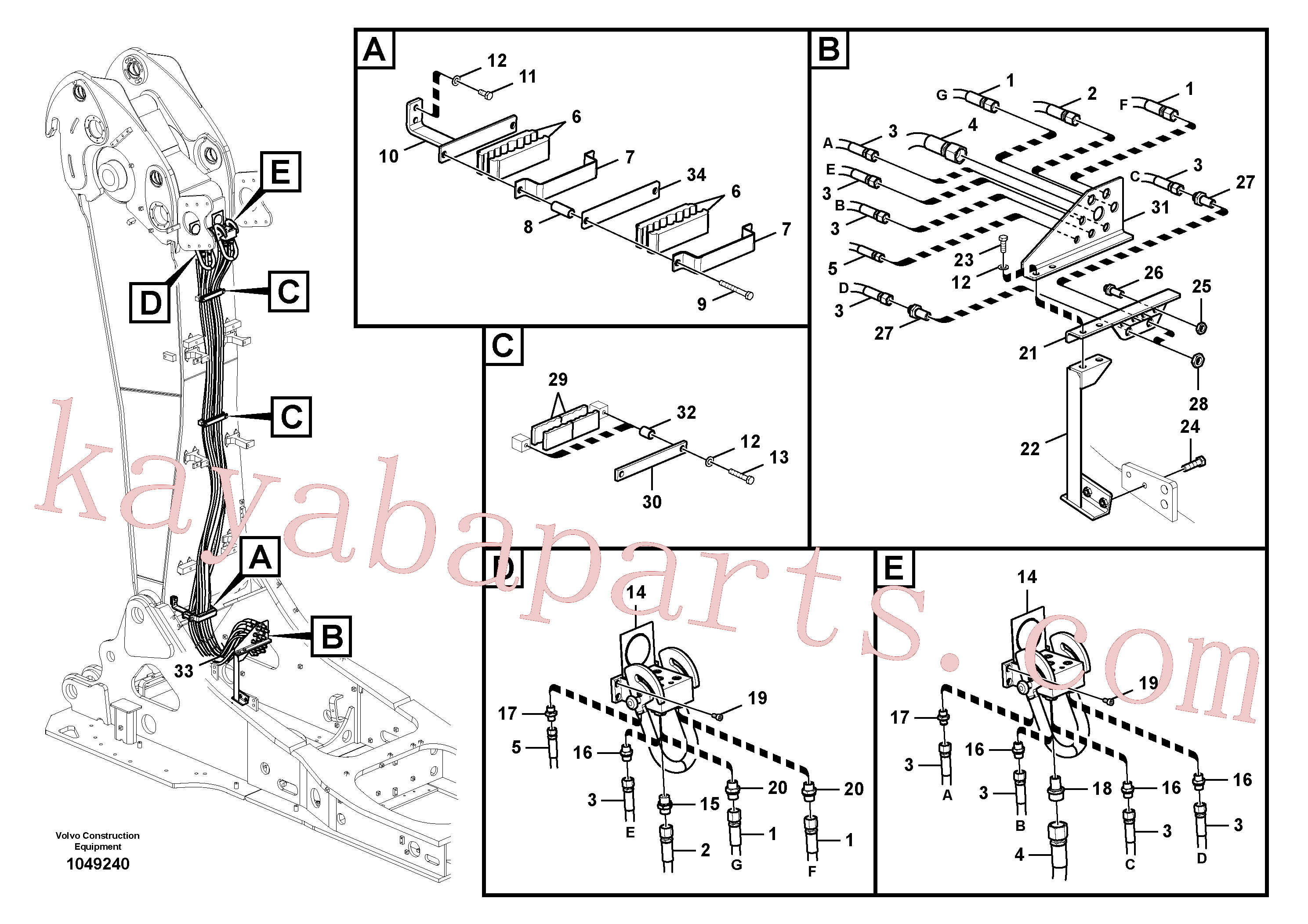 VOE937368 for Volvo Working hydraulics, base boom(1049240 assembly)