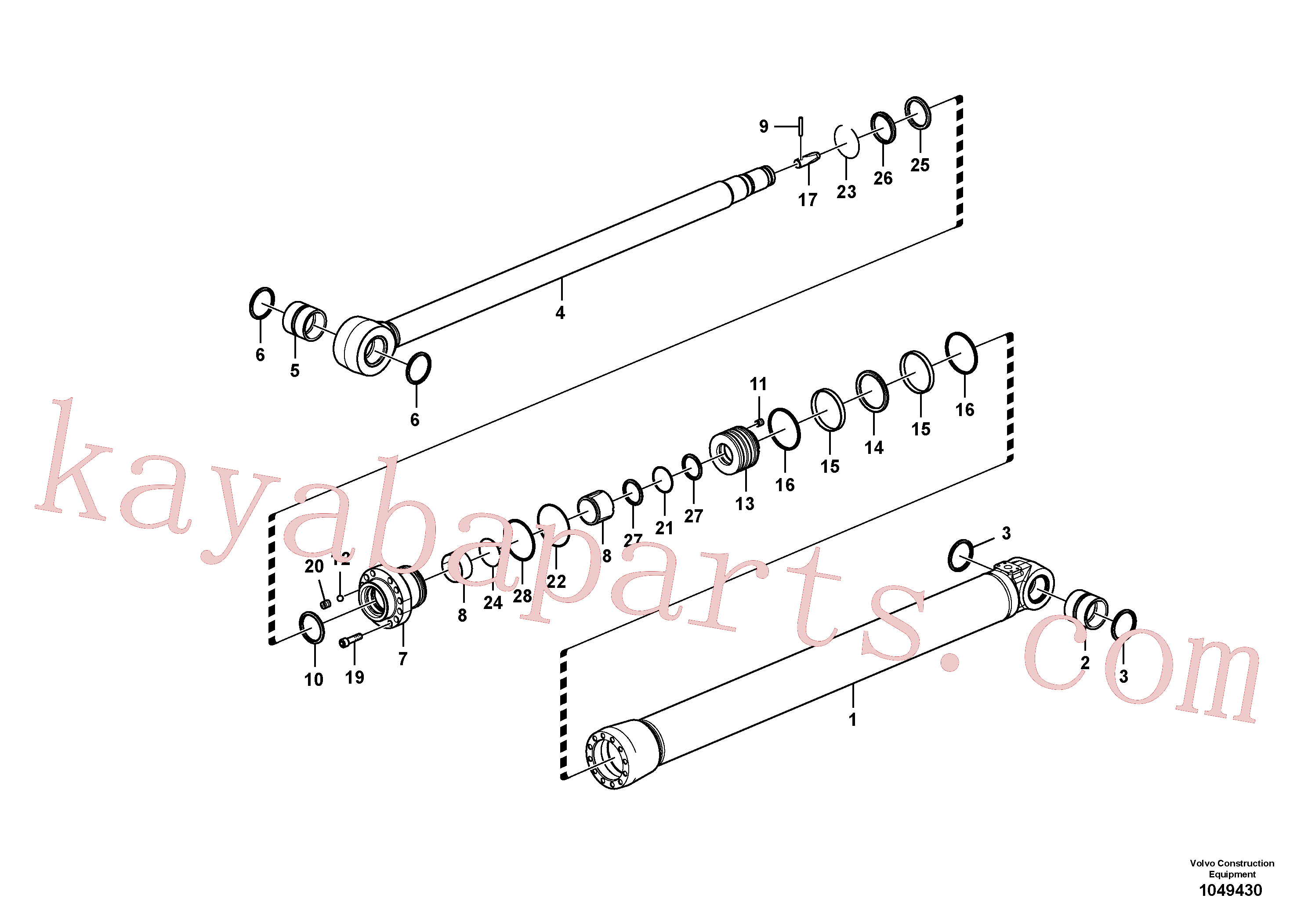 VOE14588979 for Volvo Dipper arm cylinder(1049430 assembly)