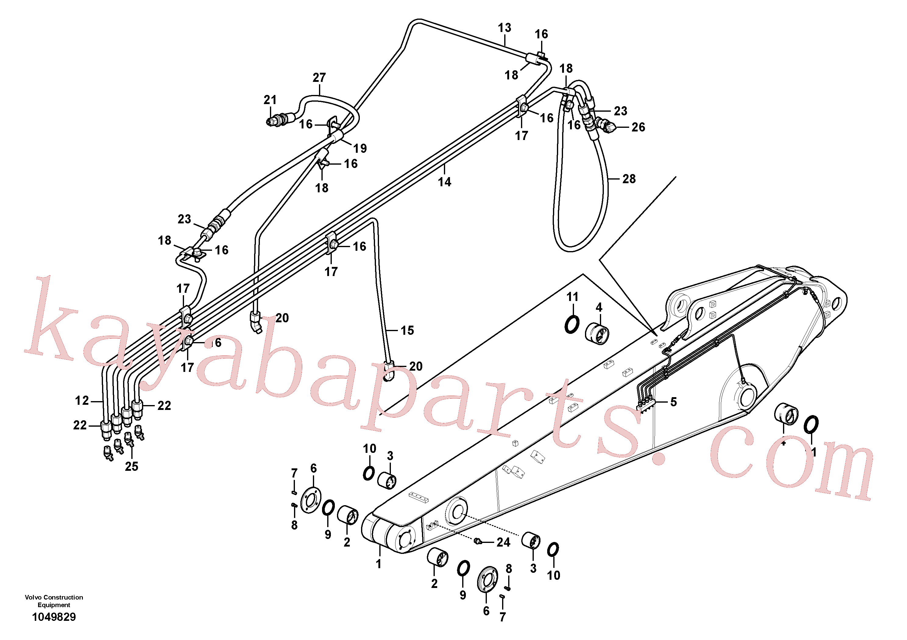 VOE14880870 for Volvo Dipper arm and grease piping with piping seat(1049829 assembly)