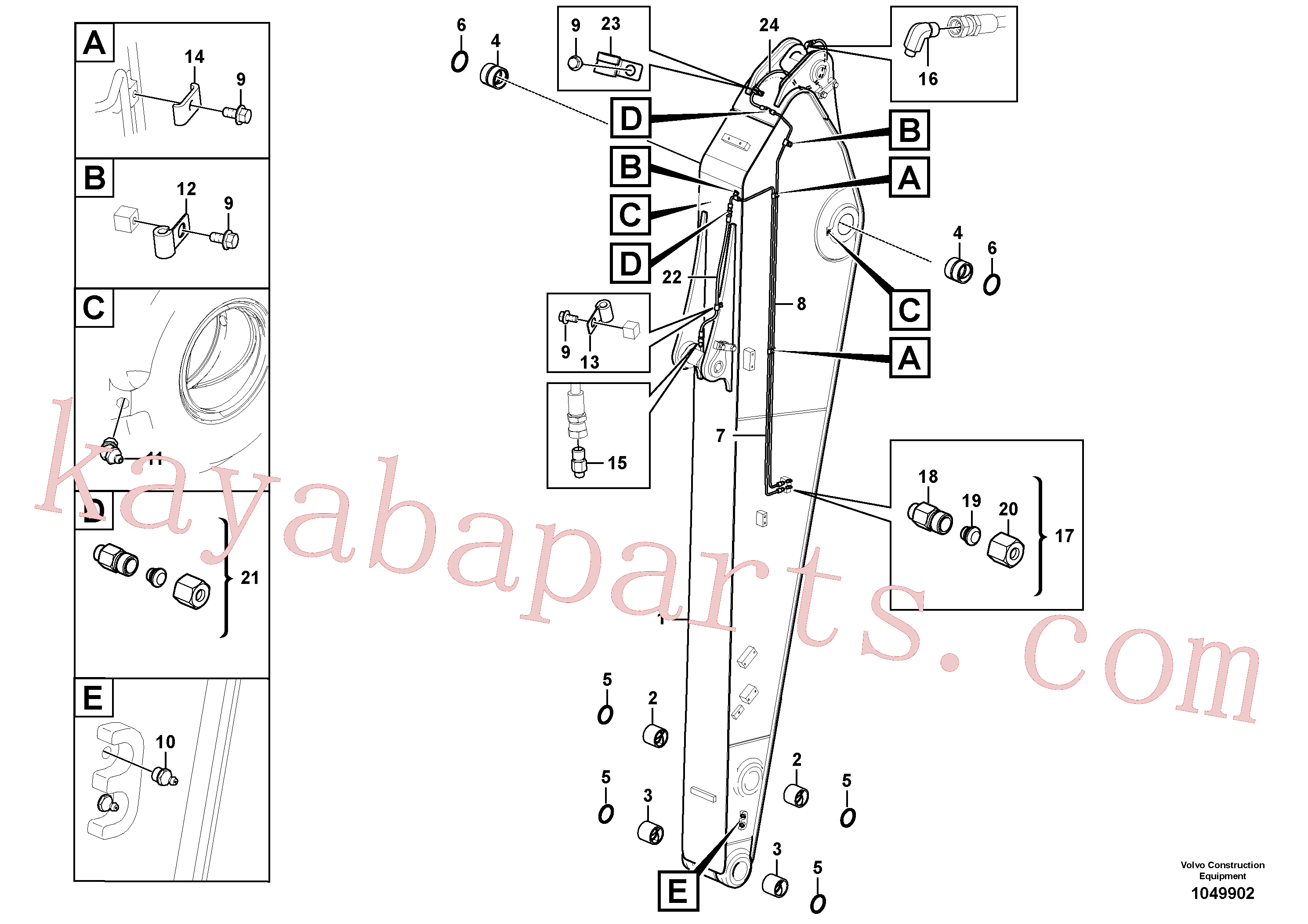 VOE14882445 for Volvo Dipper arm and grease piping with piping seat(1049902 assembly)