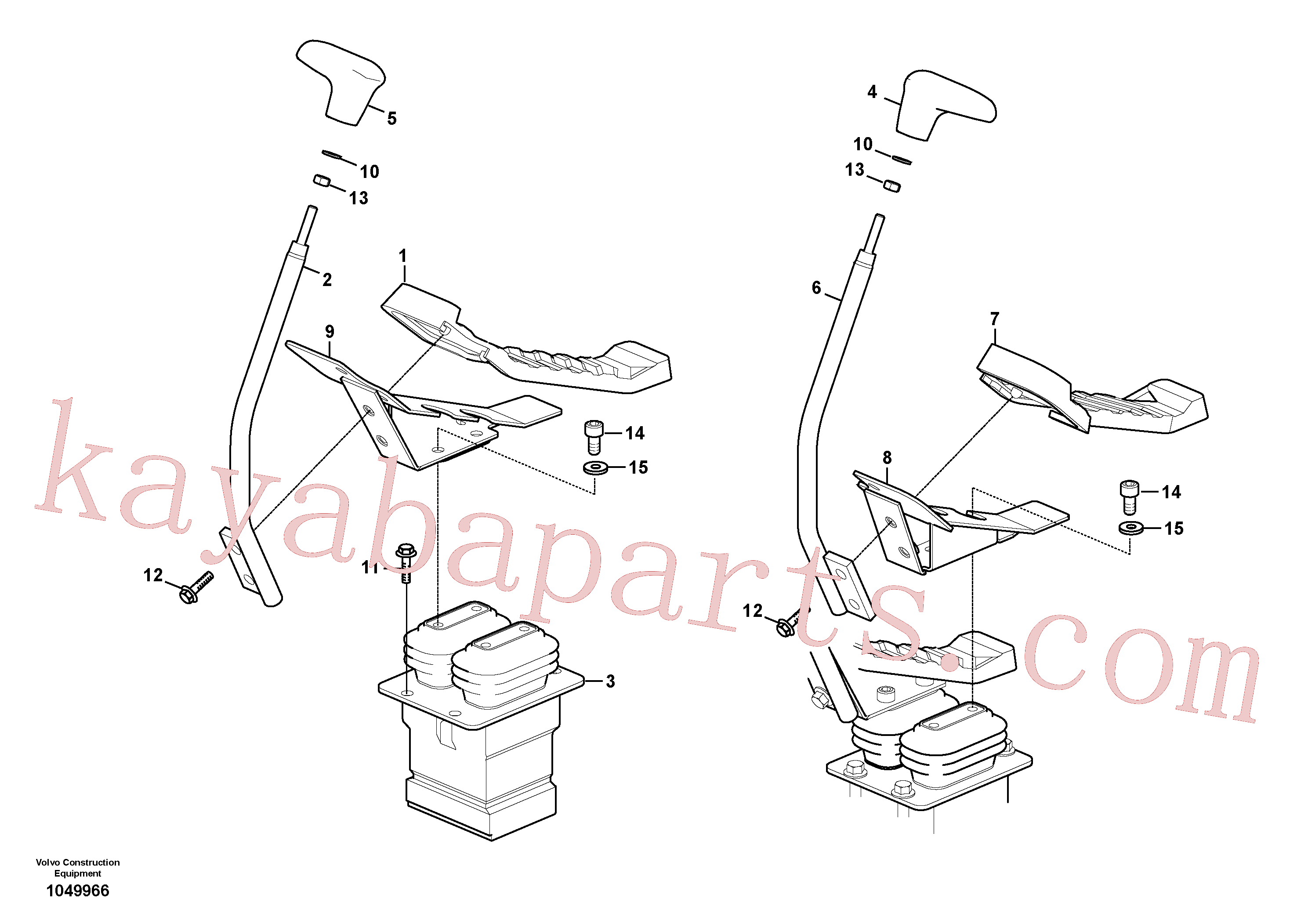 VOE14697151 for Volvo Remote control valve pedal with fitting parts(1049966 assembly)