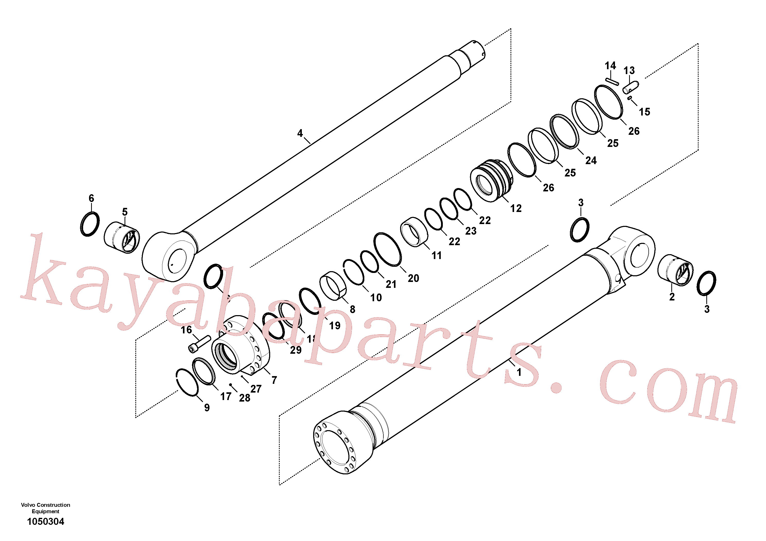 VOE14596542 for Volvo Dipper arm cylinder(1050304 assembly)