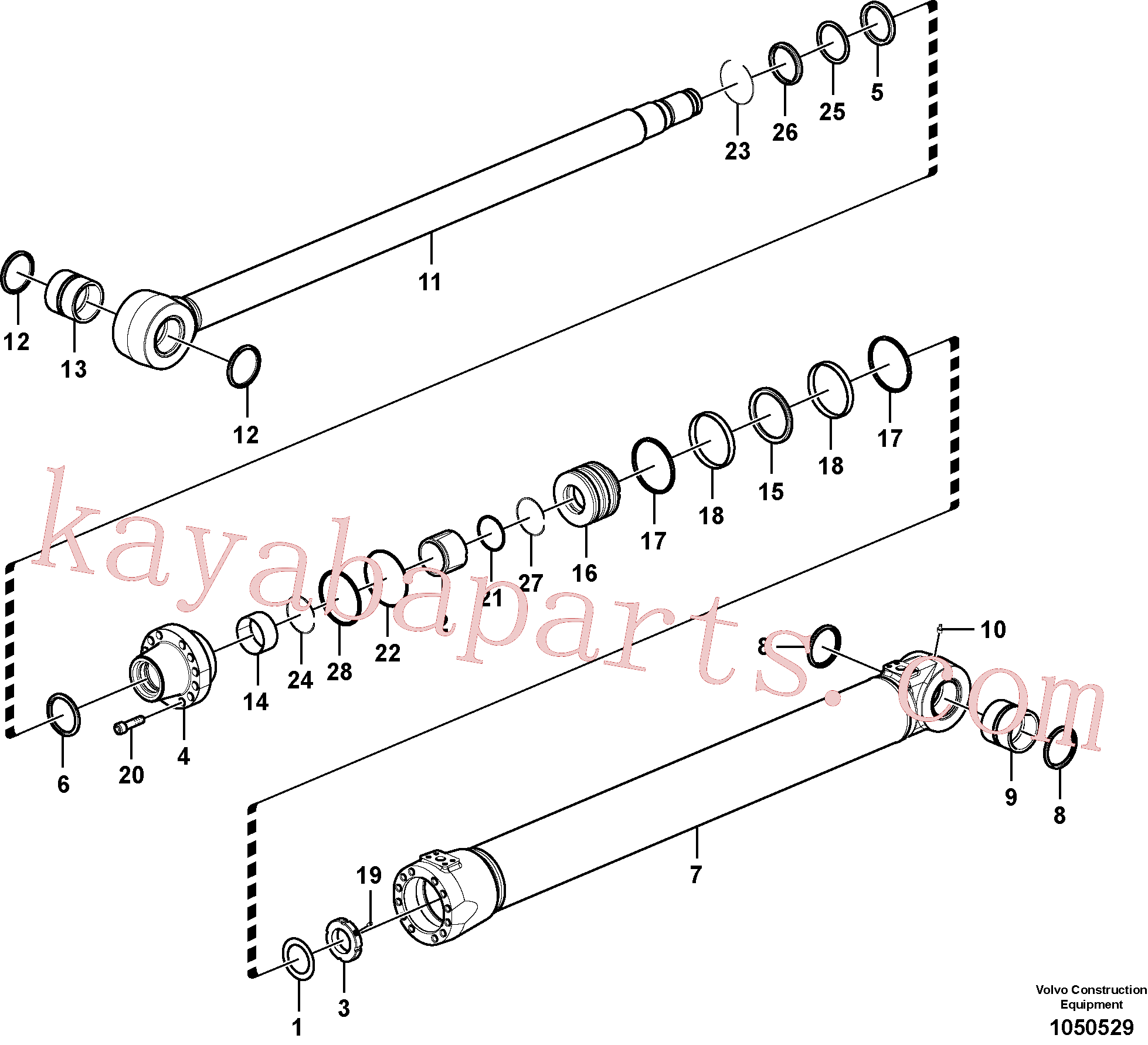 SA9566-31400 for Volvo Boom cylinder(1050529 assembly)