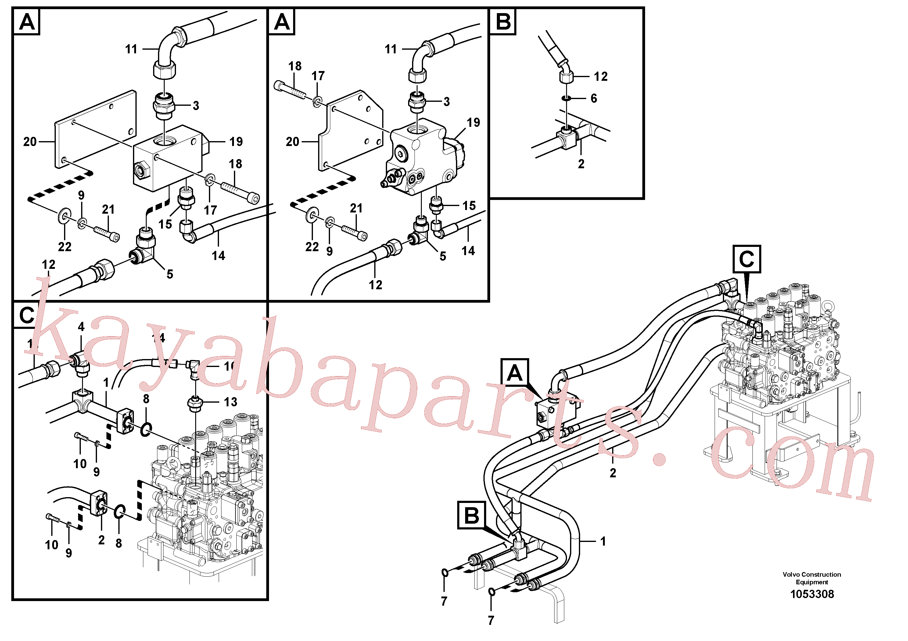 VOE938183 for Volvo Hydraulic system, control valve to boom and swing(1053308 assembly)