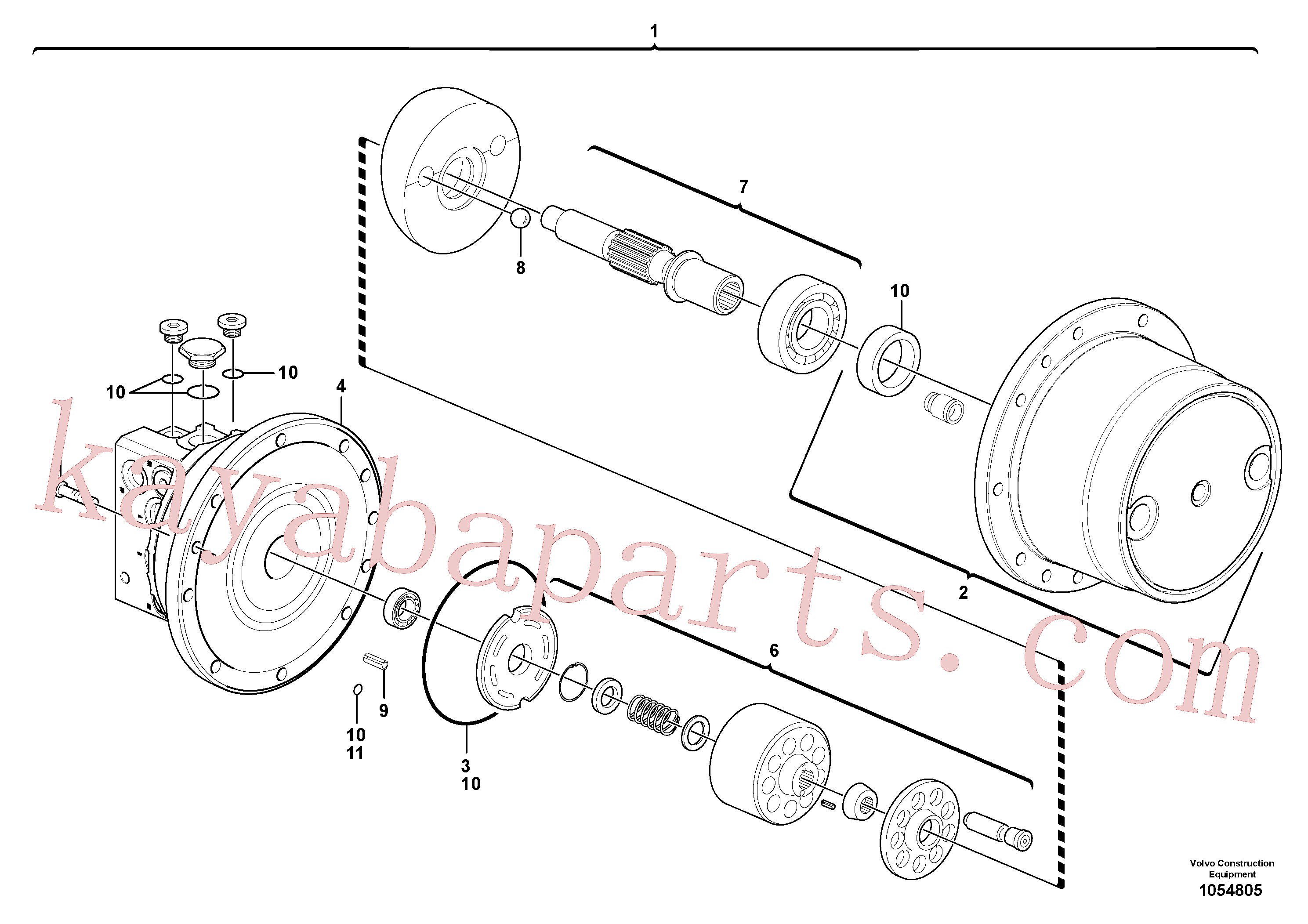 VOE990597 for Volvo Travelling gear motor assy / without brake(1054805 assembly)