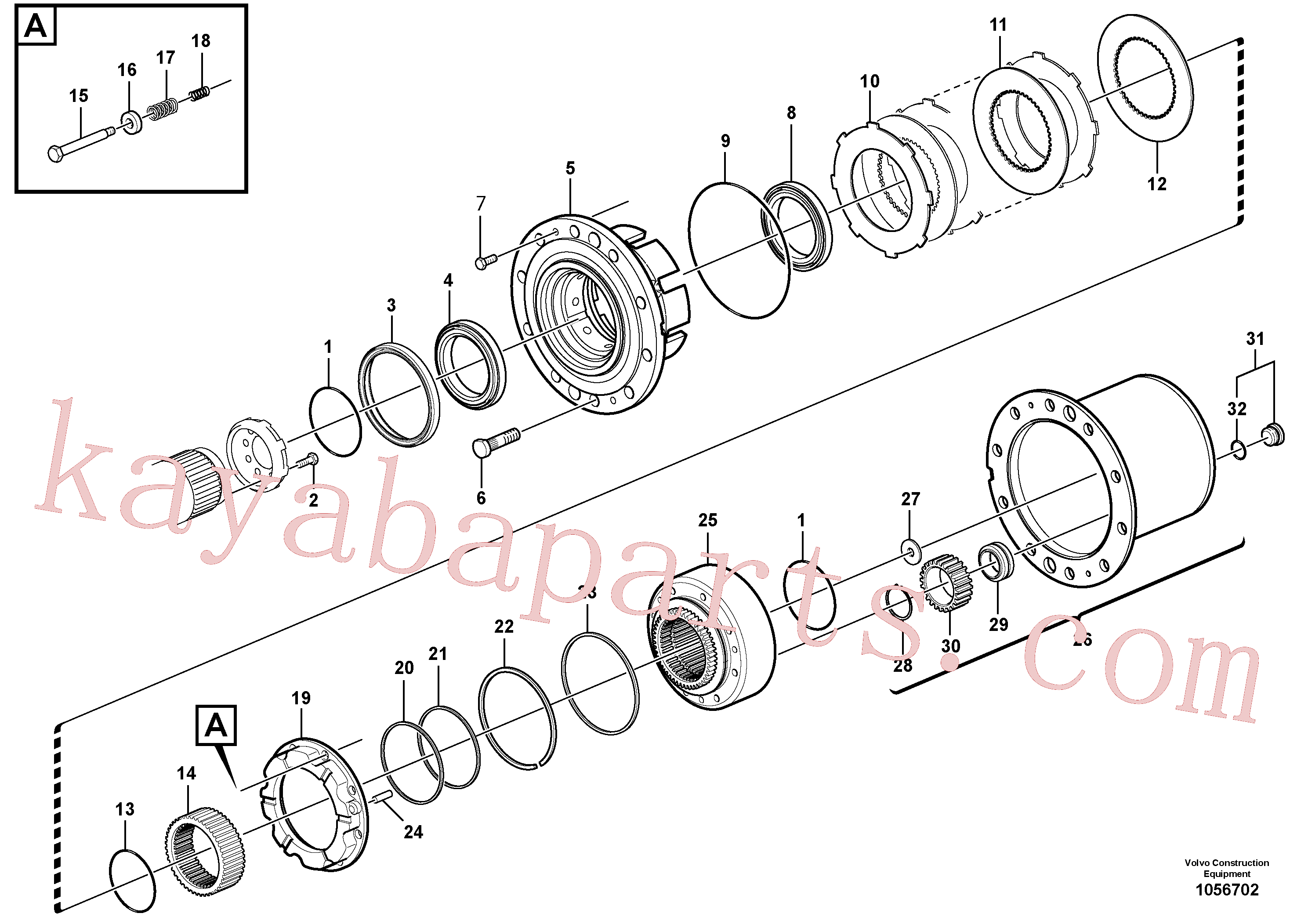 VOE15072376 for Volvo Front axle, Hub reduction, Rear axle, Hub reduction(1056702 assembly)