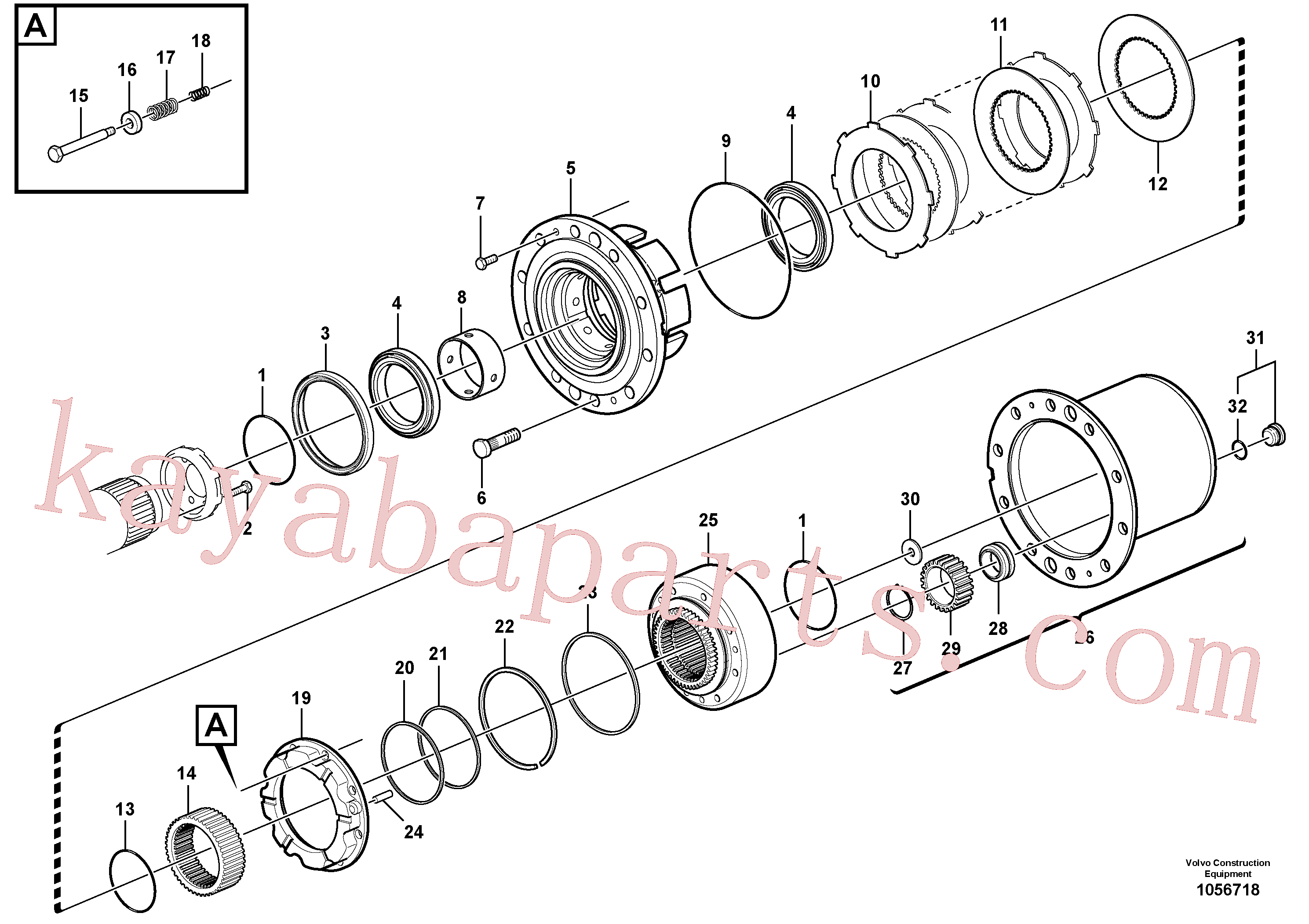 VOE15072376 for Volvo Rear axle, Hub reduction, Front axle, Hub reduction(1056718 assembly)