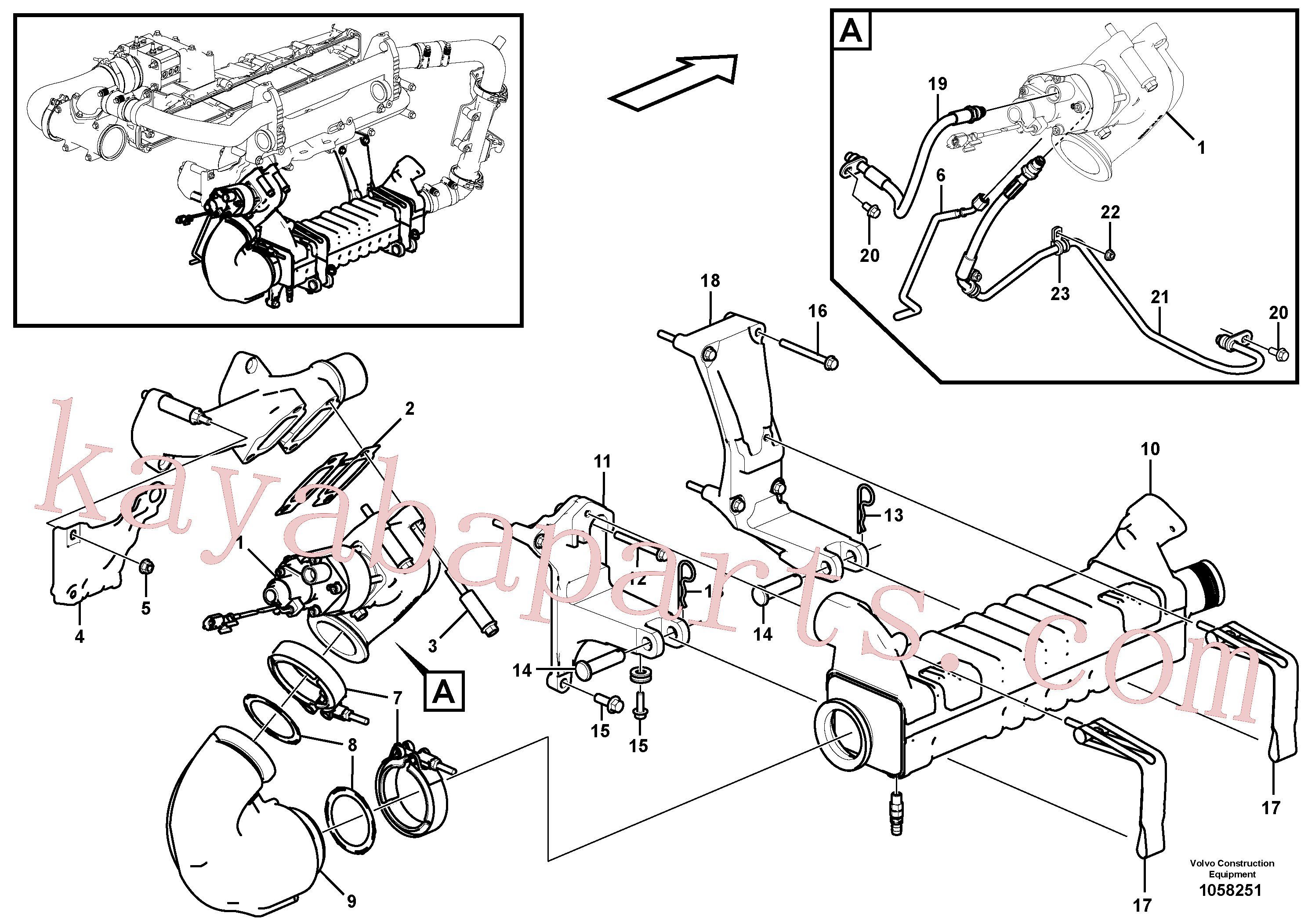 VOE13964907 for Volvo EGR - warm side(1058251 assembly)