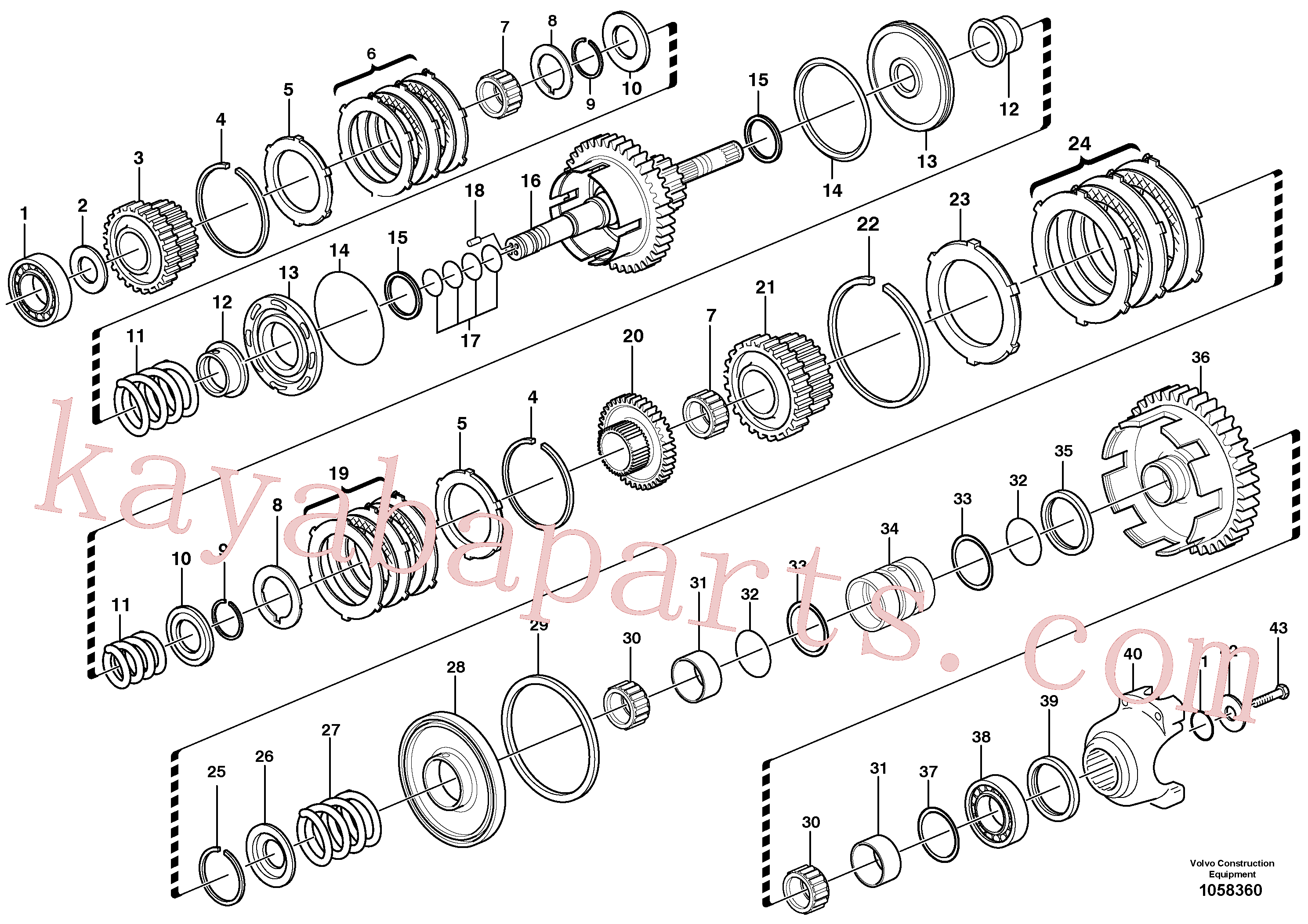 VOE11709093 for Volvo Secondary shaft(1058360 assembly)