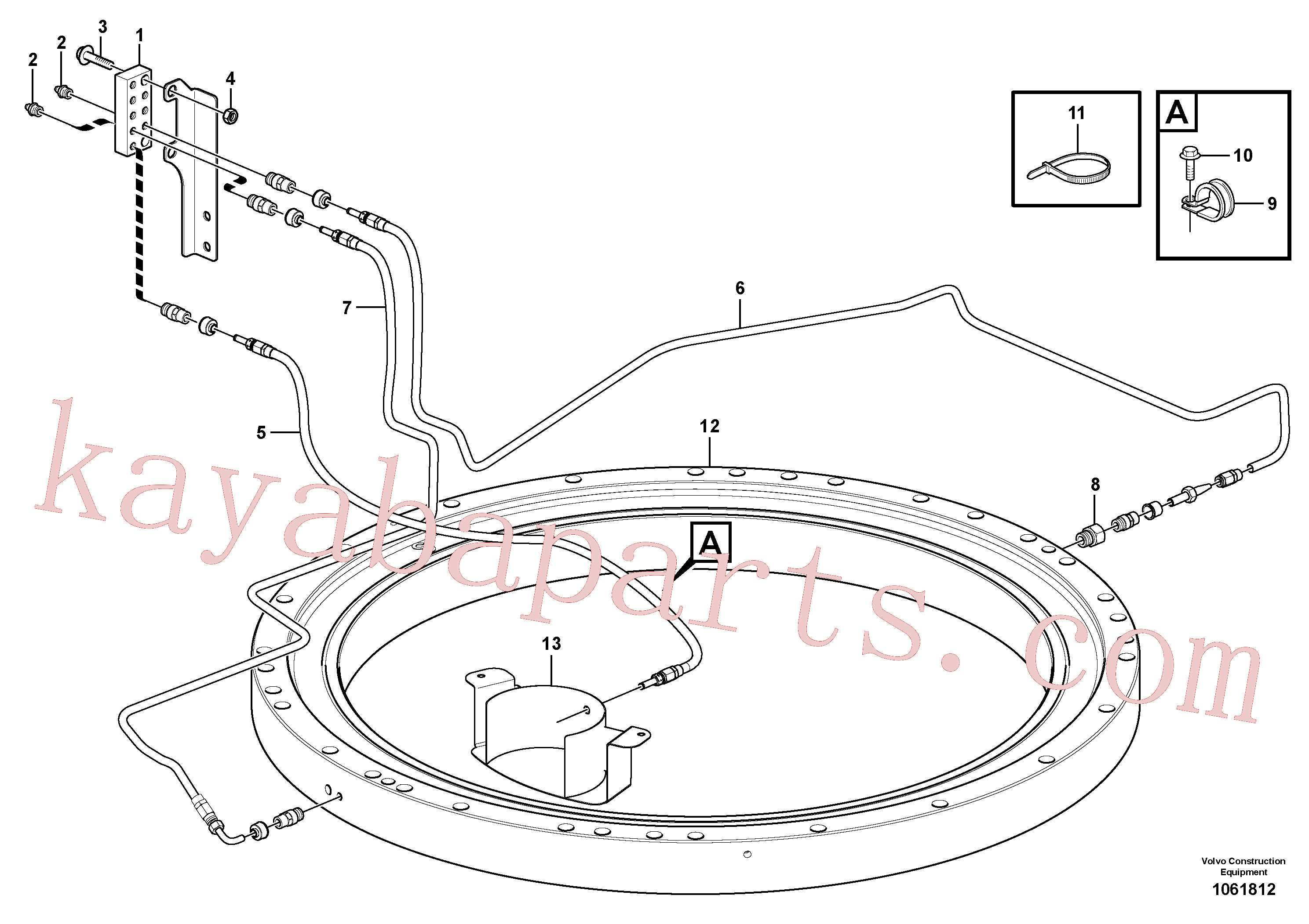 SA9119-11000 for Volvo Slew transmission, lubricating pipe(1061812 assembly)