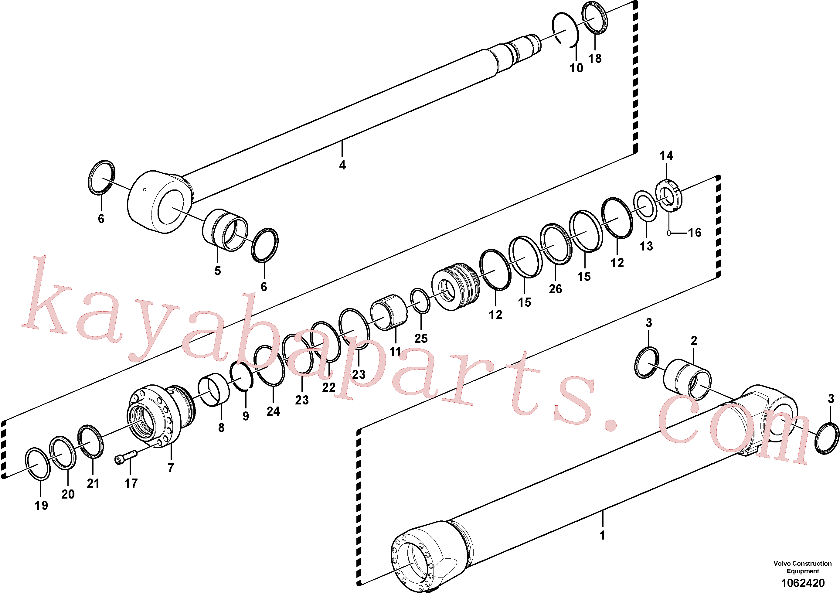SA9557-08000 for Volvo Boom cylinder(1062420 assembly)