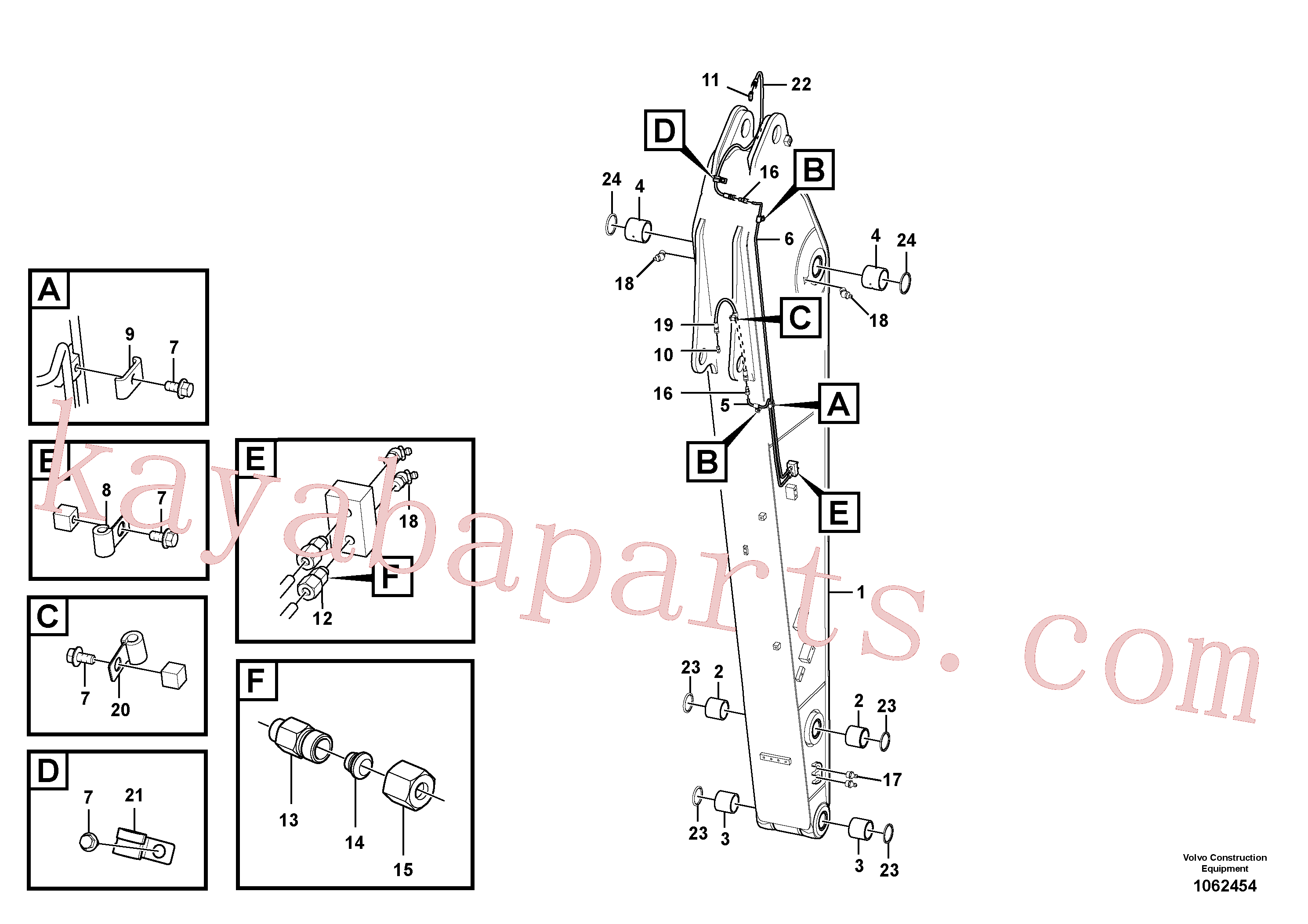 VOE14882445 for Volvo Dipper arm and grease piping with piping seat(1062454 assembly)