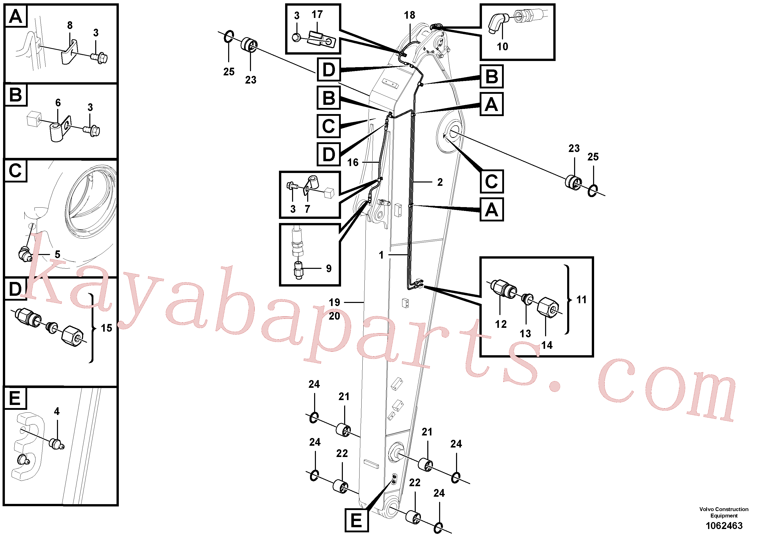 VOE14882445 for Volvo Dipper arm and grease piping with piping seat(1062463 assembly)