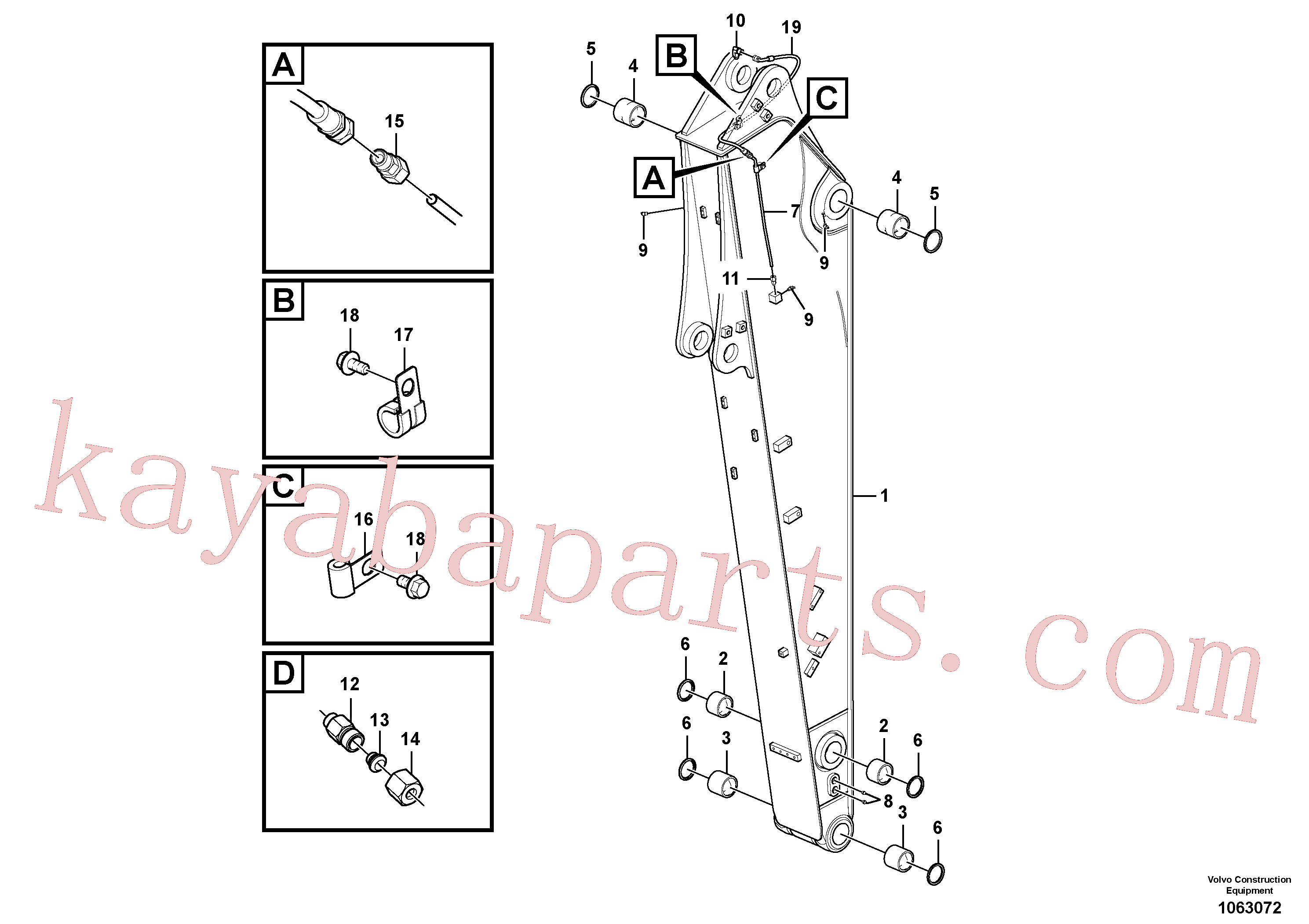 VOE14880870 for Volvo Dipper arm and grease piping with piping seat(1063072 assembly)