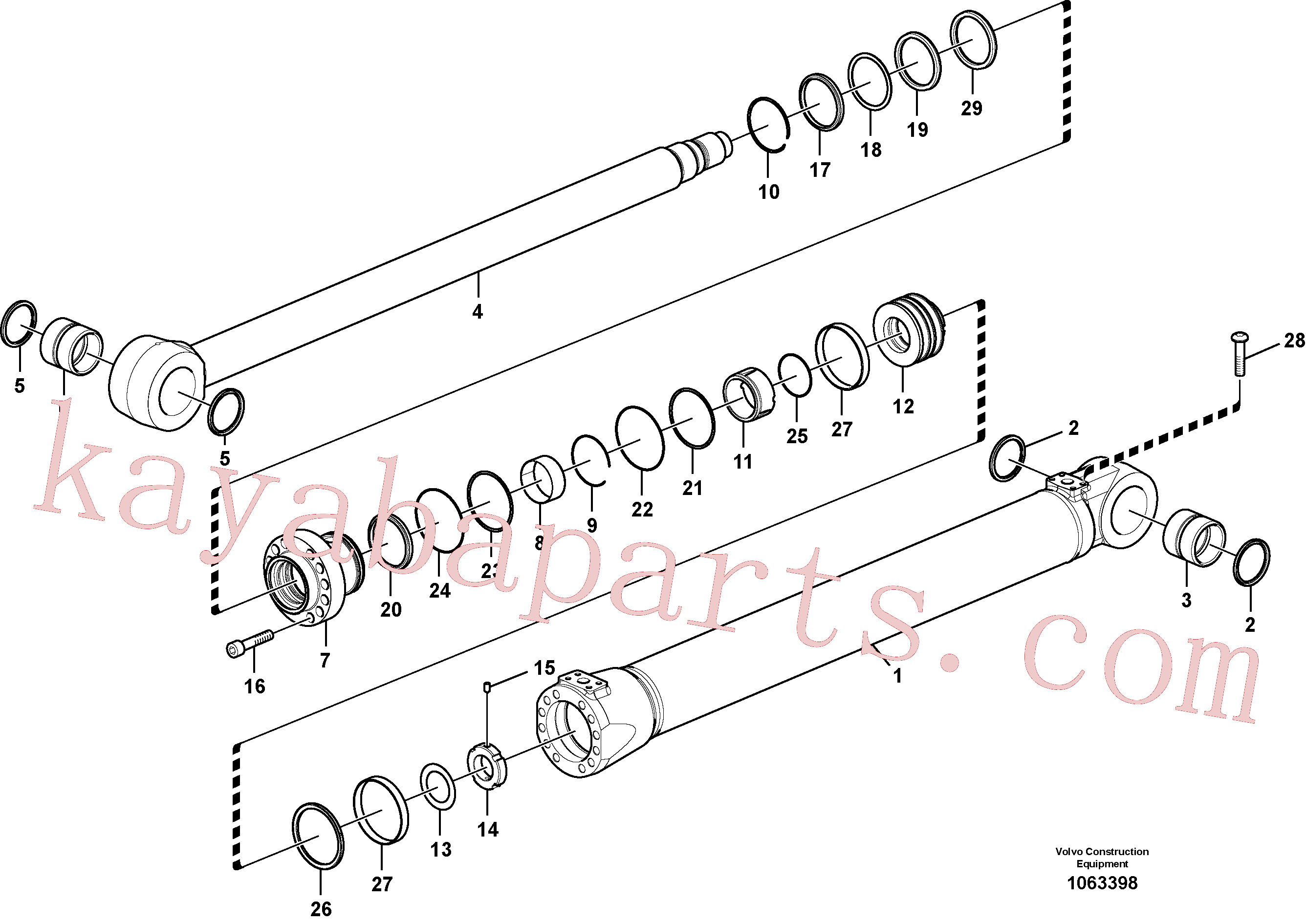 VOE14510892 for Volvo Boom cylinder(1063398 assembly)