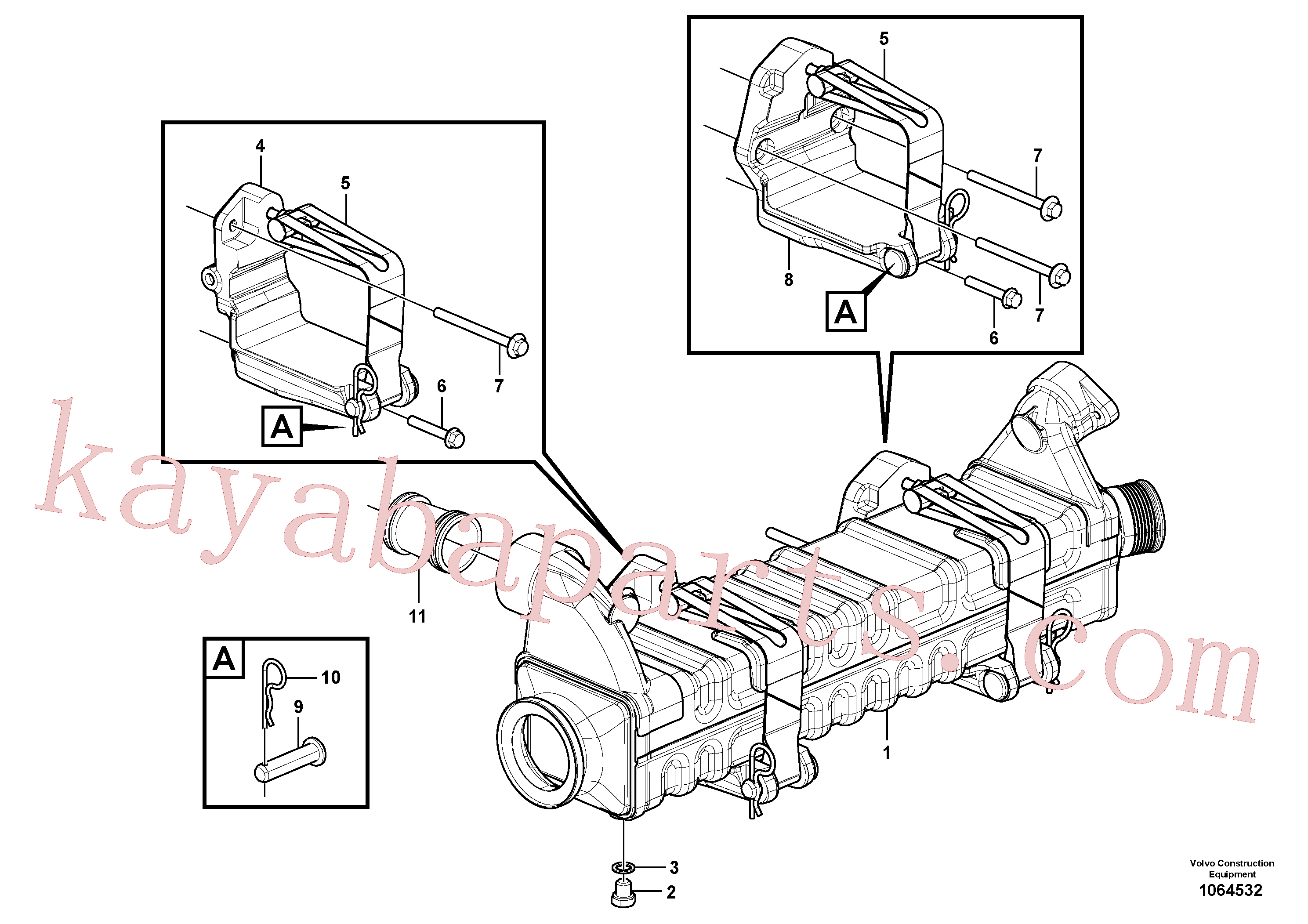 VOE13964907 for Volvo Egr - Radiator with fitting parts(1064532 assembly)