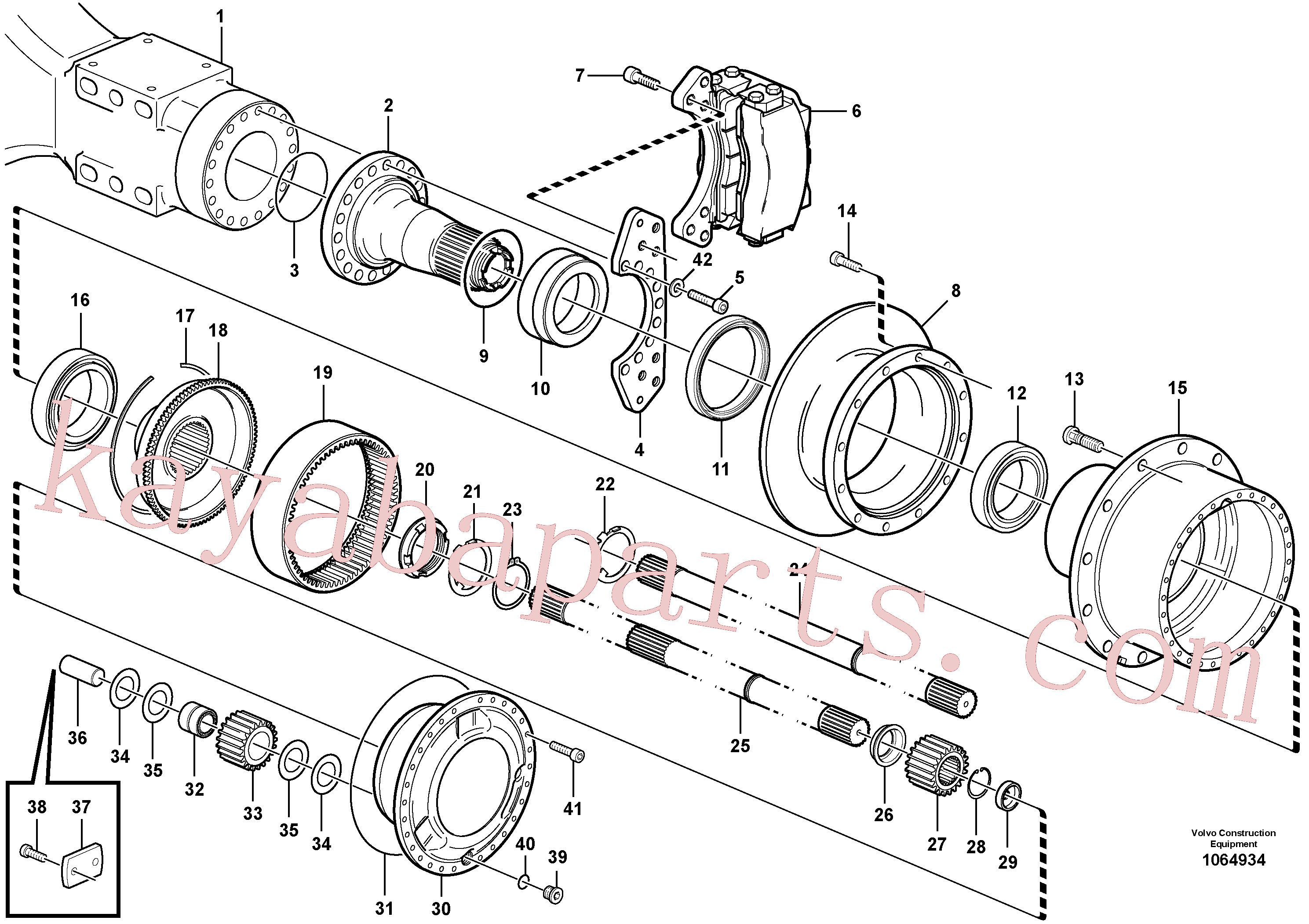 VOE946304 for Volvo Hub reduction, axle 1 load unit, Hub reduction, axle 2 load unit, Hub reduction, motorunit(1064934 assembly)