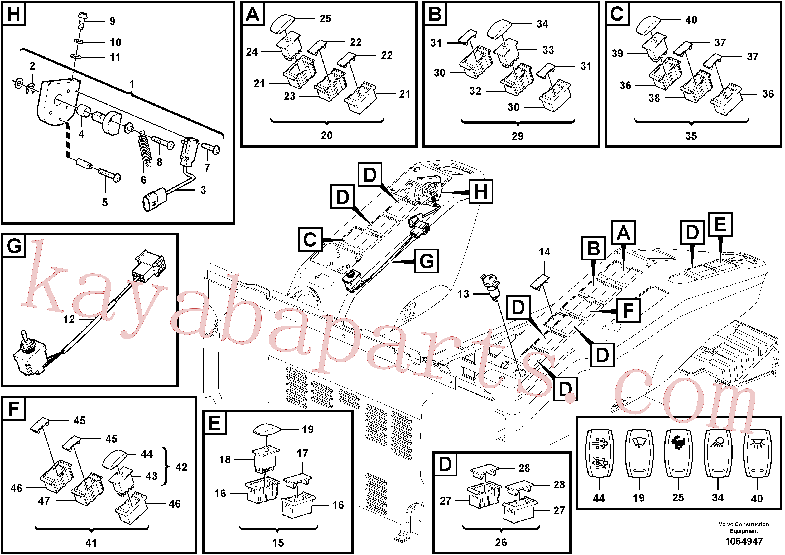 SA9285-11000 for Volvo Switch(1064947 assembly)