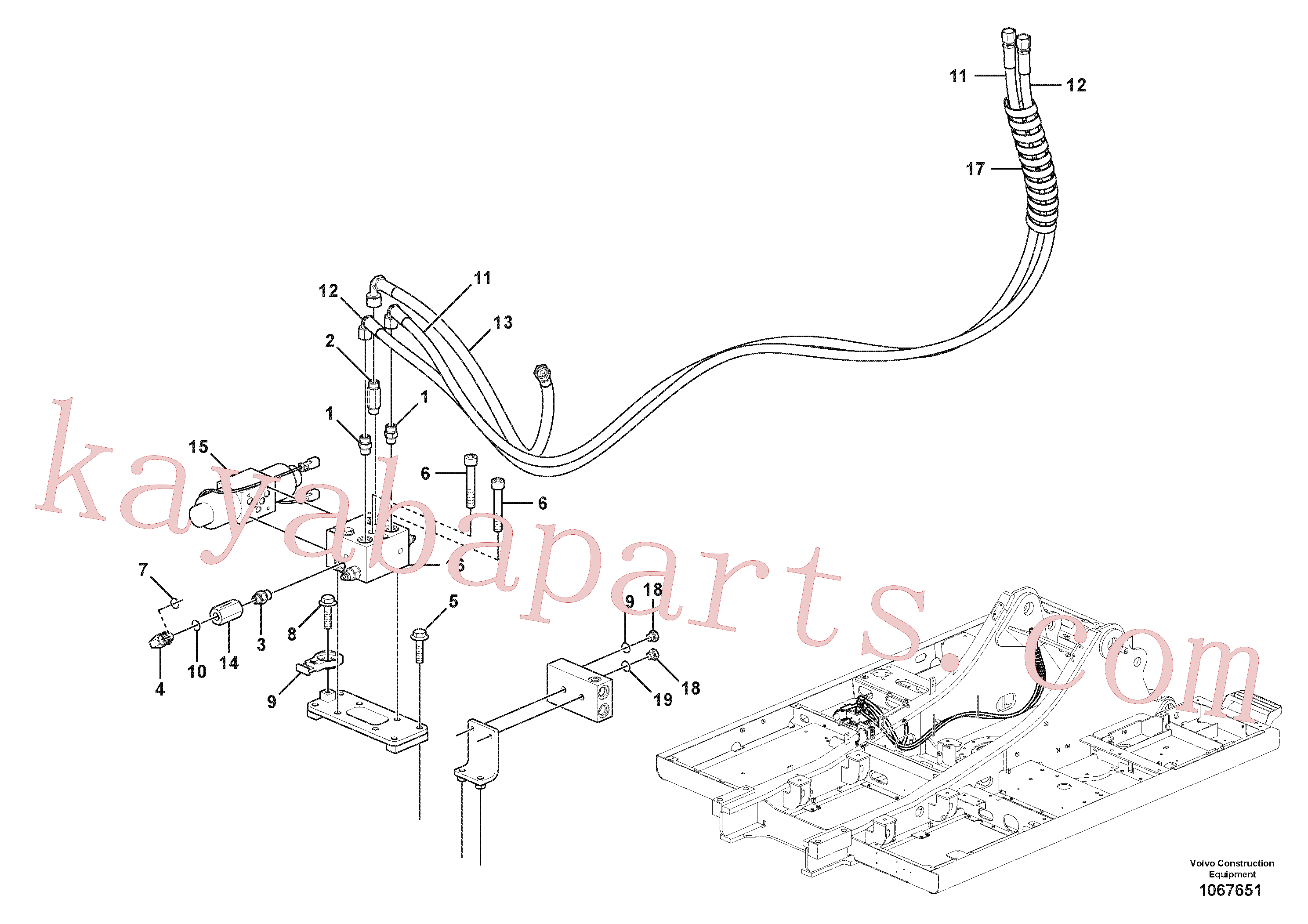 VOE14594938 for Volvo Working hydraulic, slope and rotator on boom(1067651 assembly)