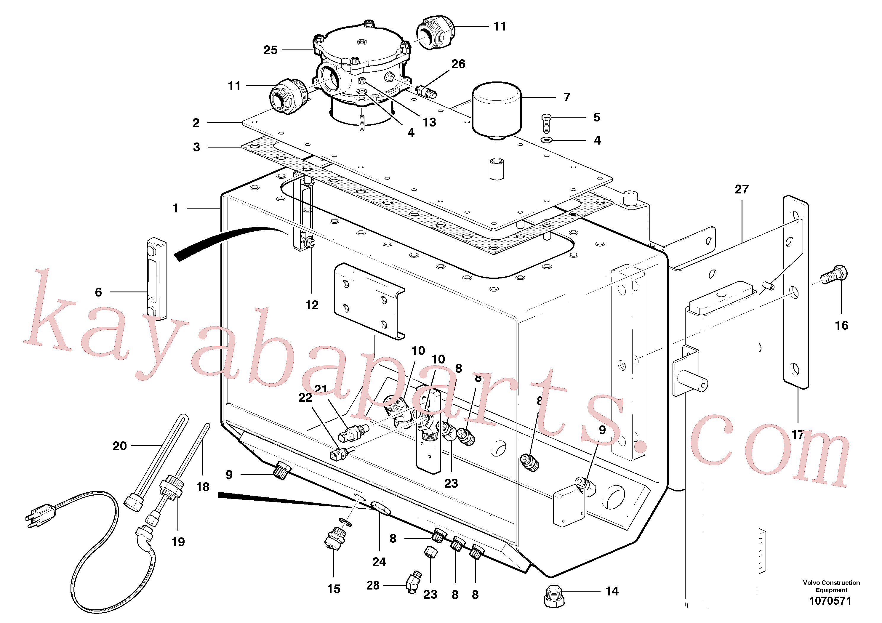 VOE961991 for Volvo Hydraulic oil tank(1070571 assembly)