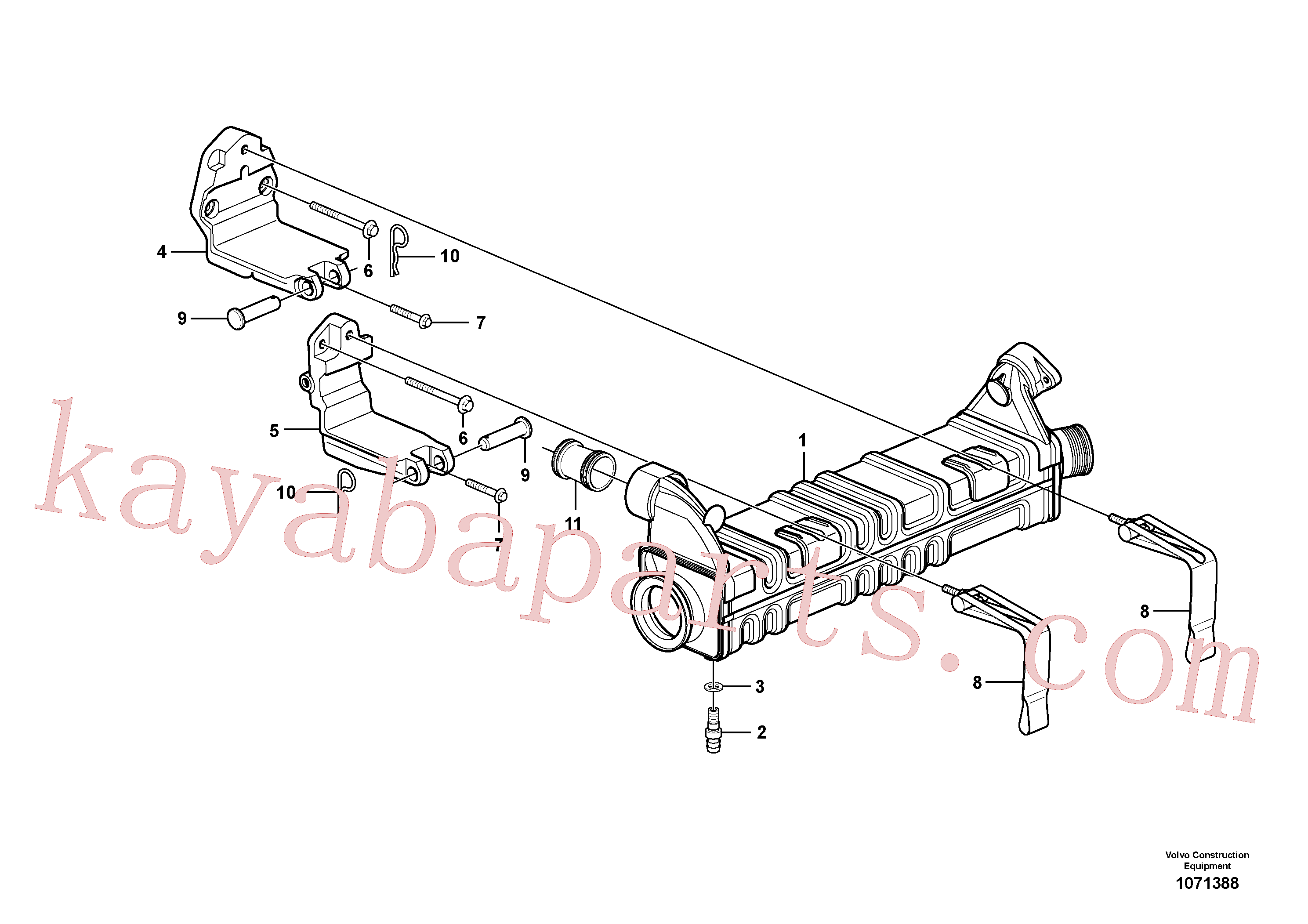 VOE13964907 for Volvo Egr - Radiator with fitting parts(1071388 assembly)