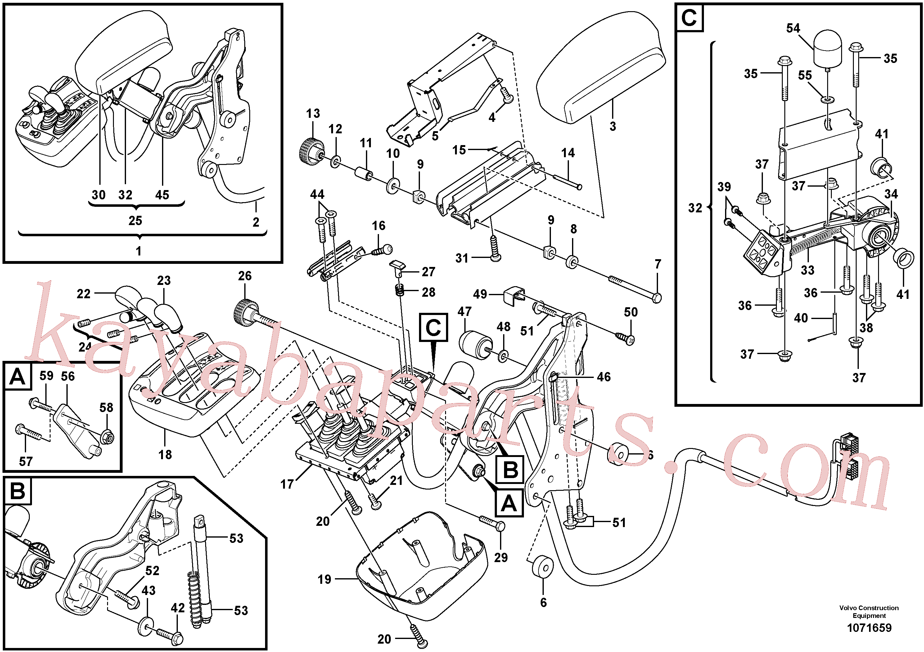 VOE984734 for Volvo Foldable armrest for three-lever el.hydraulic servo system(1071659 assembly)