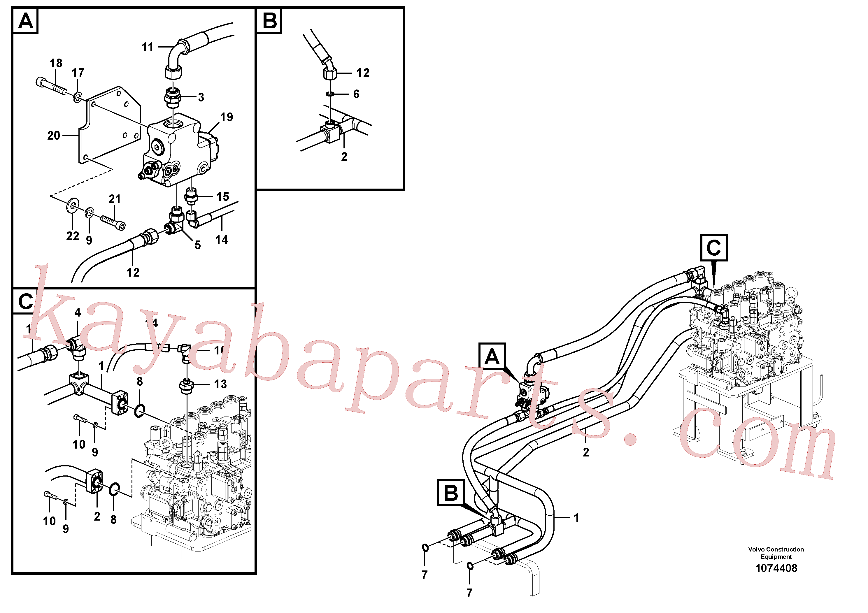 VOE938183 for Volvo Hydraulic system, control valve to boom and swing(1074408 assembly)