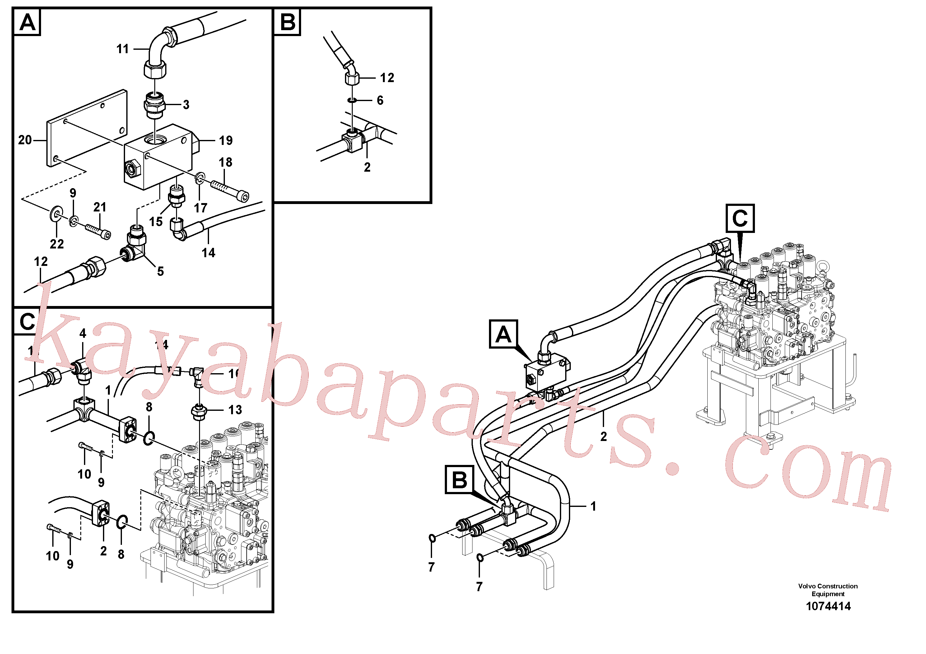 VOE938183 for Volvo Hydraulic system, control valve to boom and swing(1074414 assembly)