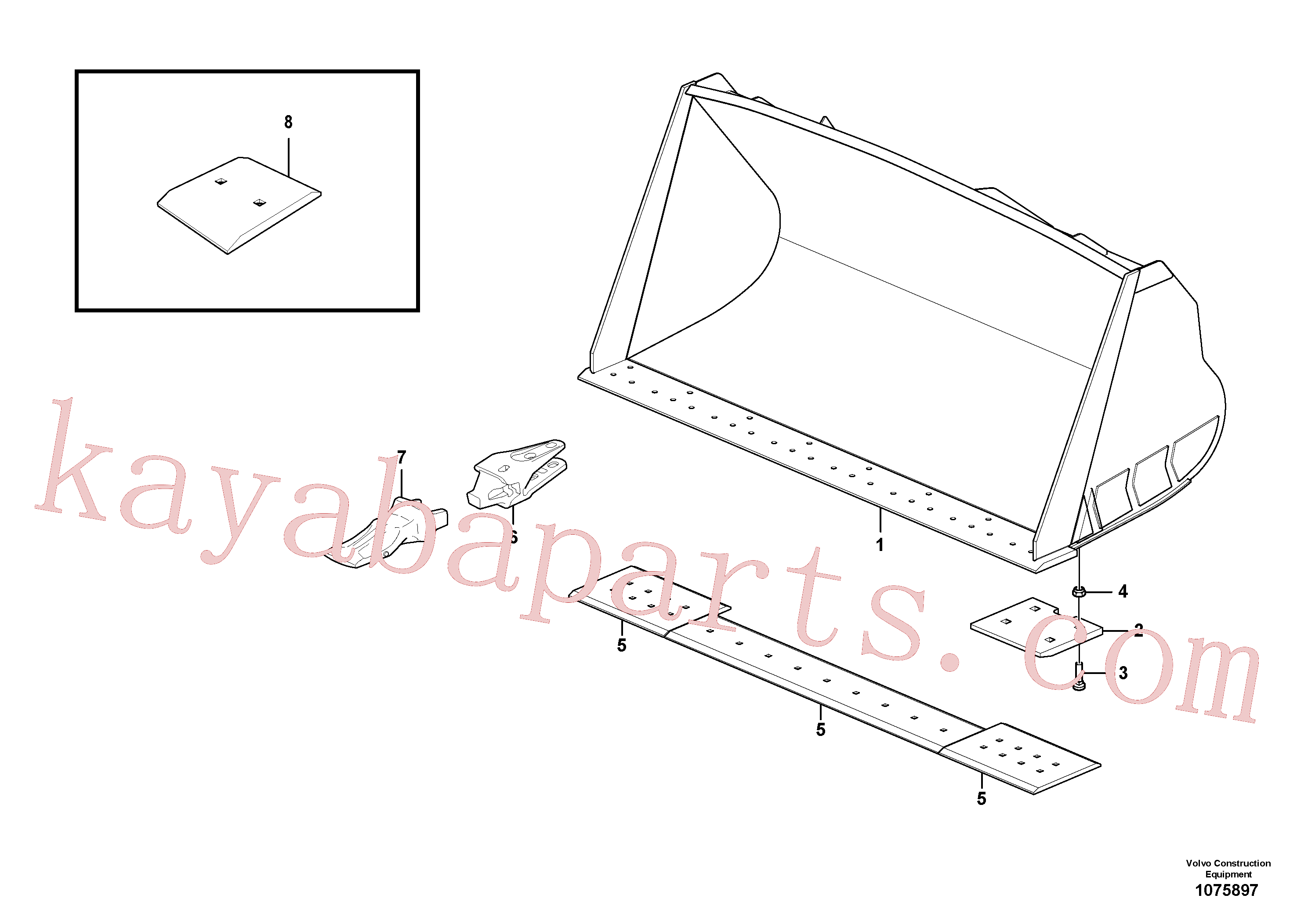 VOE13948902 for Volvo Bucket, straight lip, alt. edge savers or teeth(1075897 assembly)