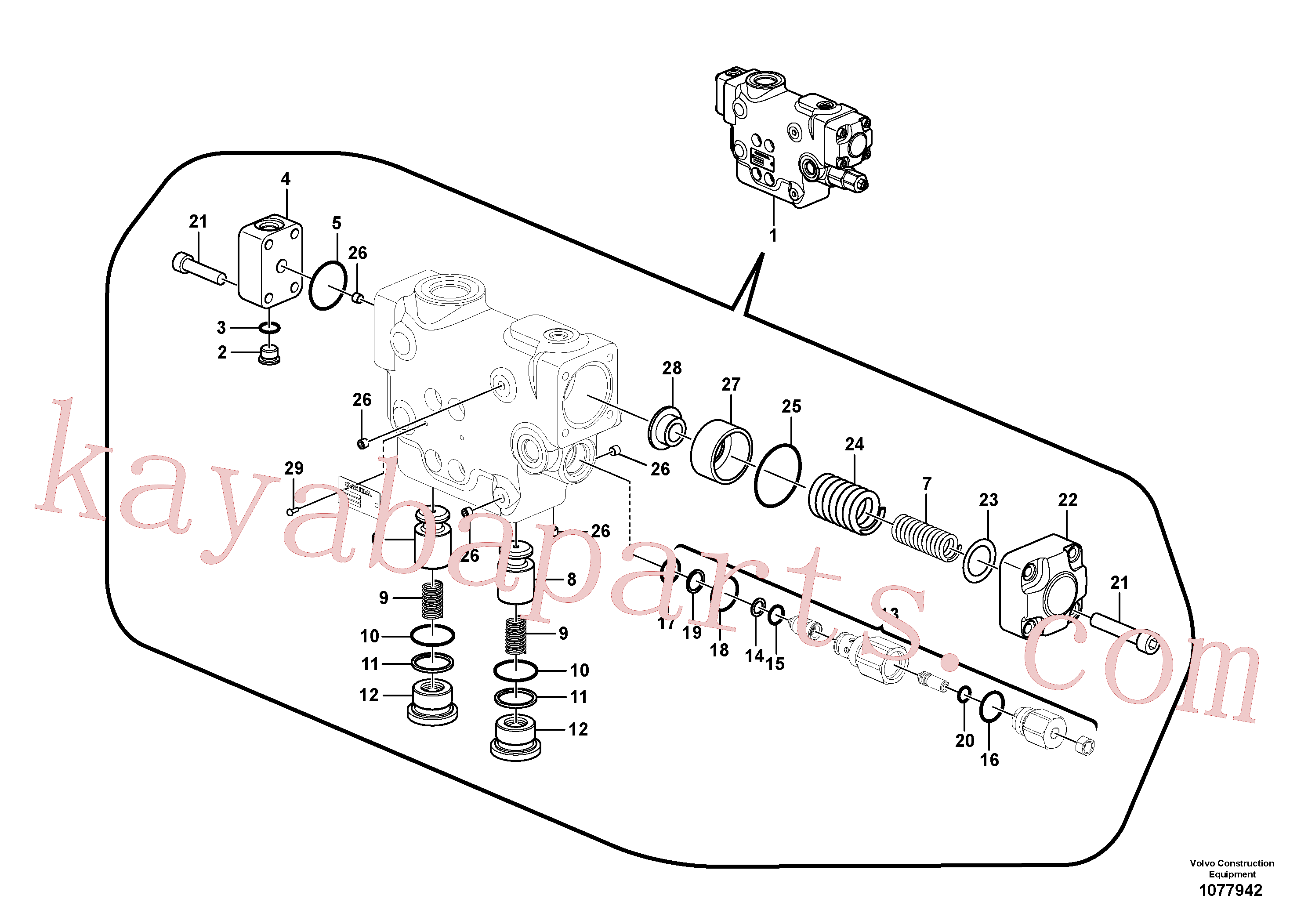 VOE14535270 for Volvo Working hydraulic, dipper arm rupture valve mount.(1077942 assembly)