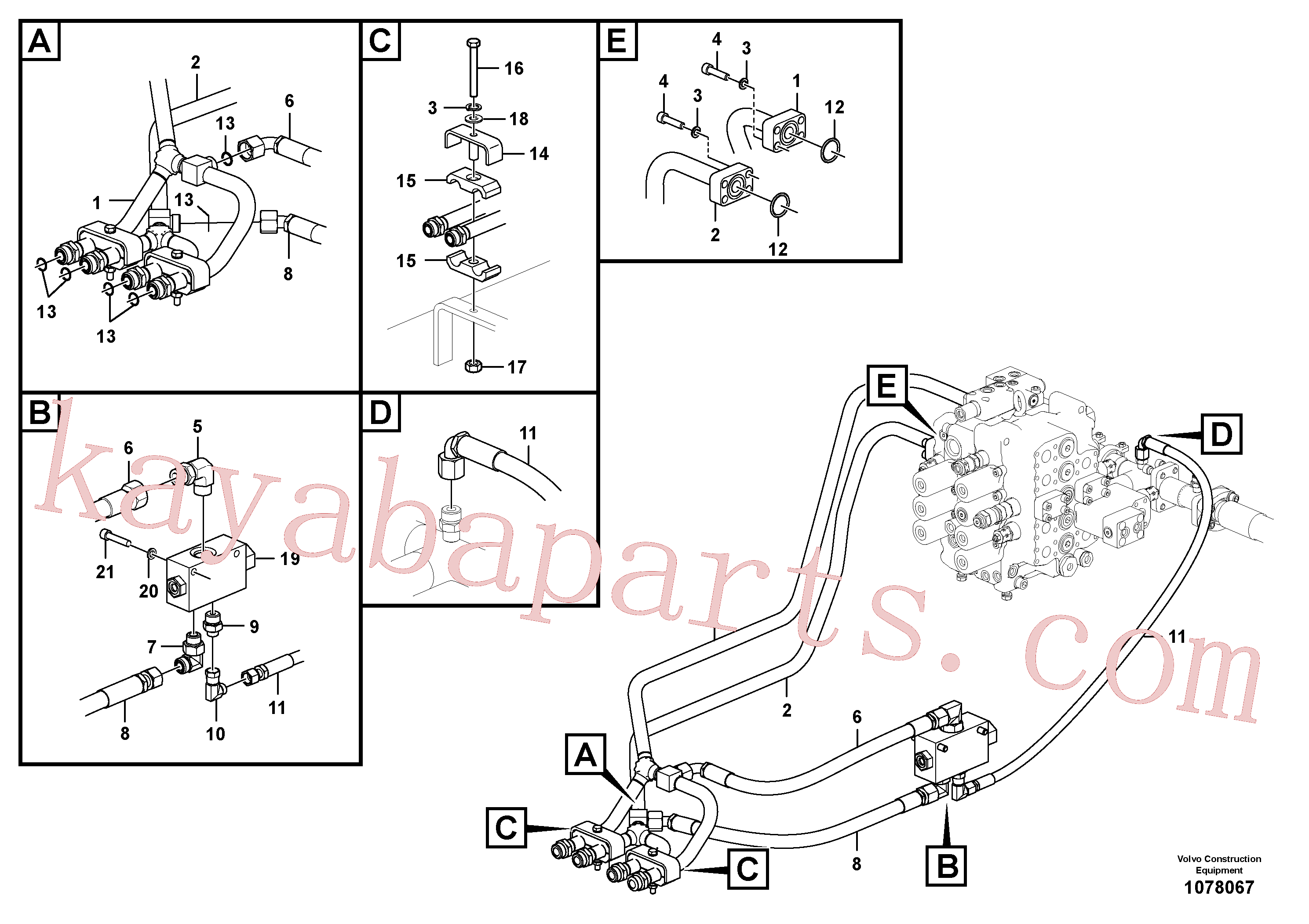 VOE938183 for Volvo Hydraulic system, control valve to boom and swing(1078067 assembly)