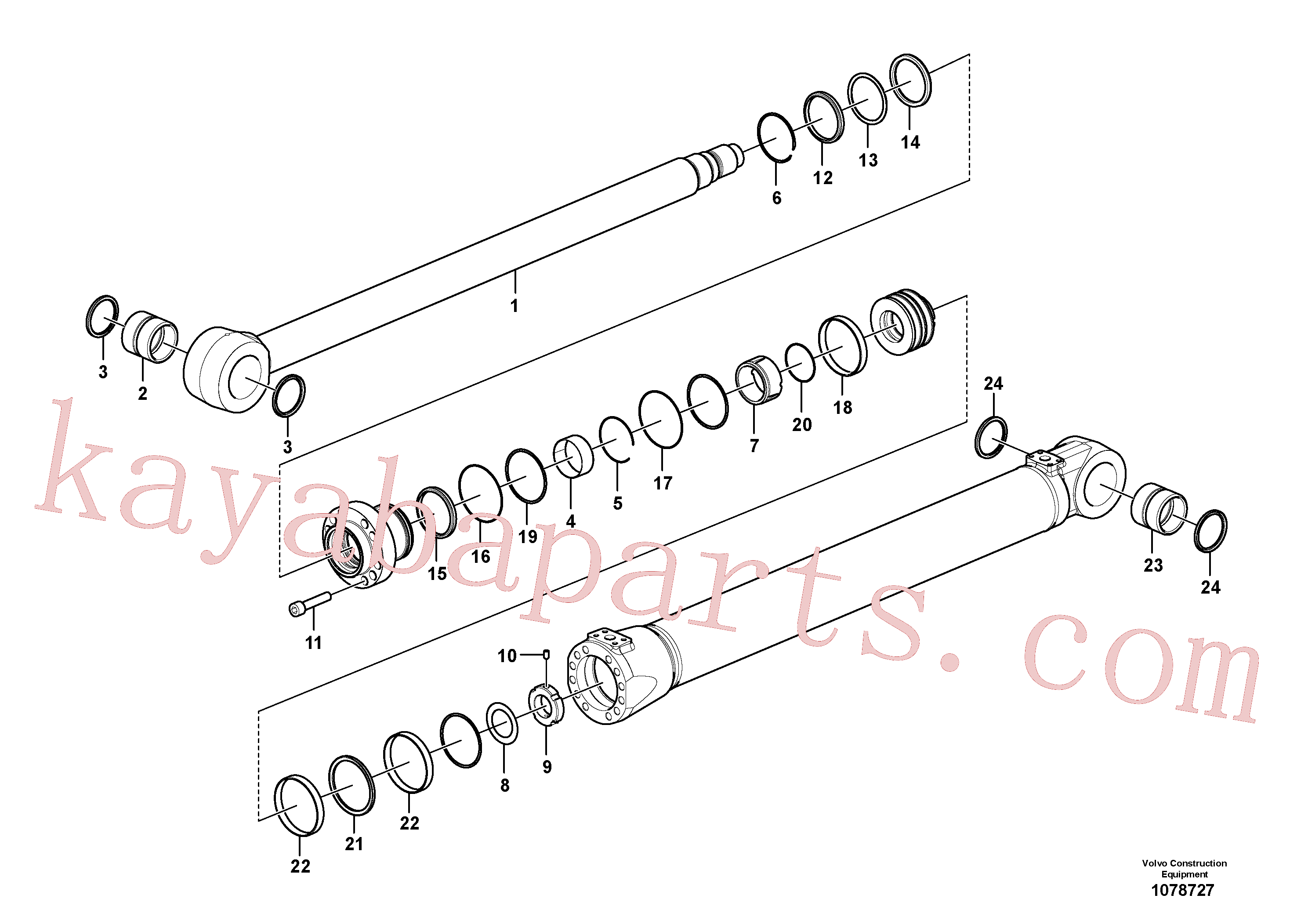 VOE990597 for Volvo Boom cylinder(1078727 assembly)