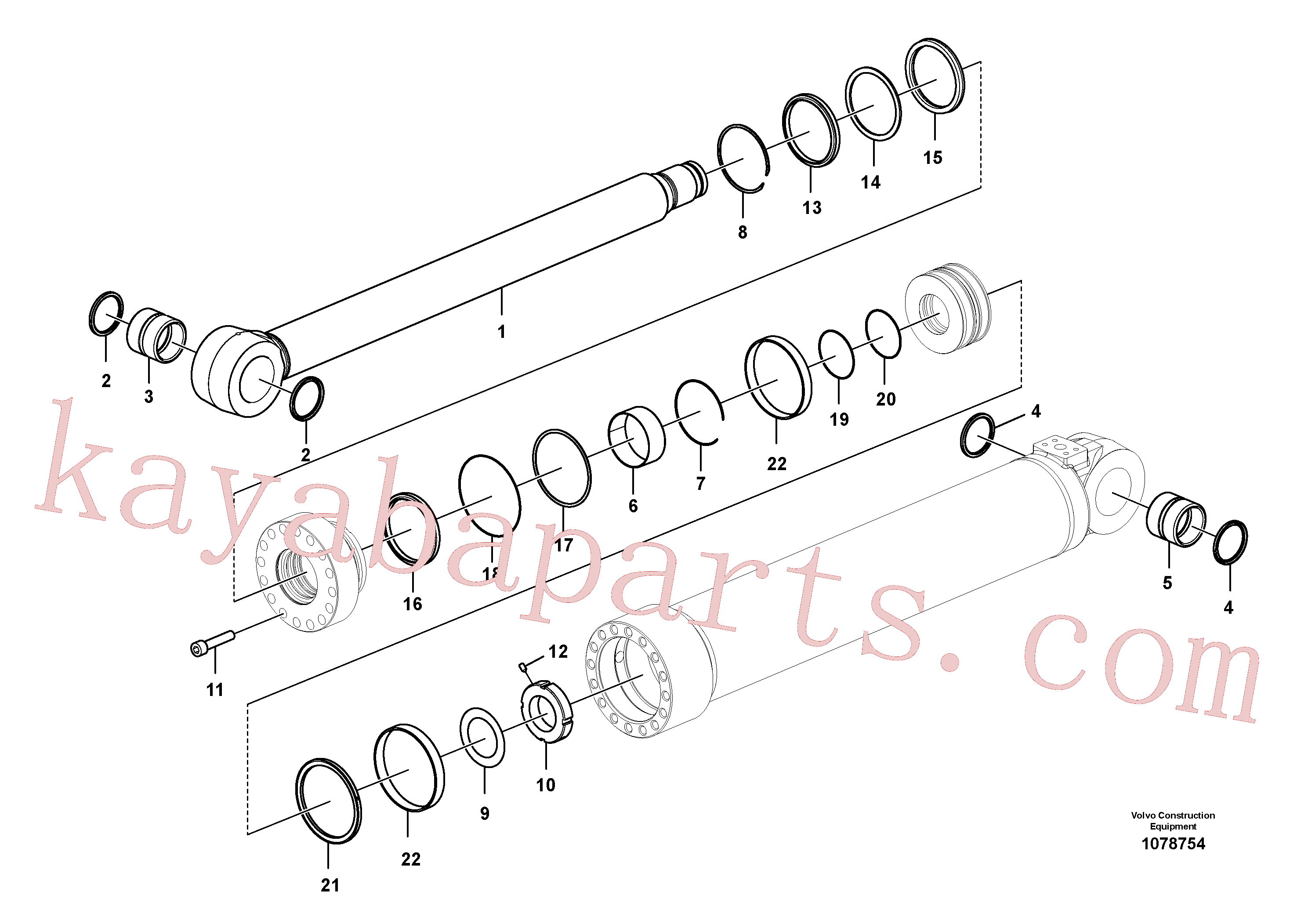 SA9557-08000 for Volvo Boom cylinder(1078754 assembly)