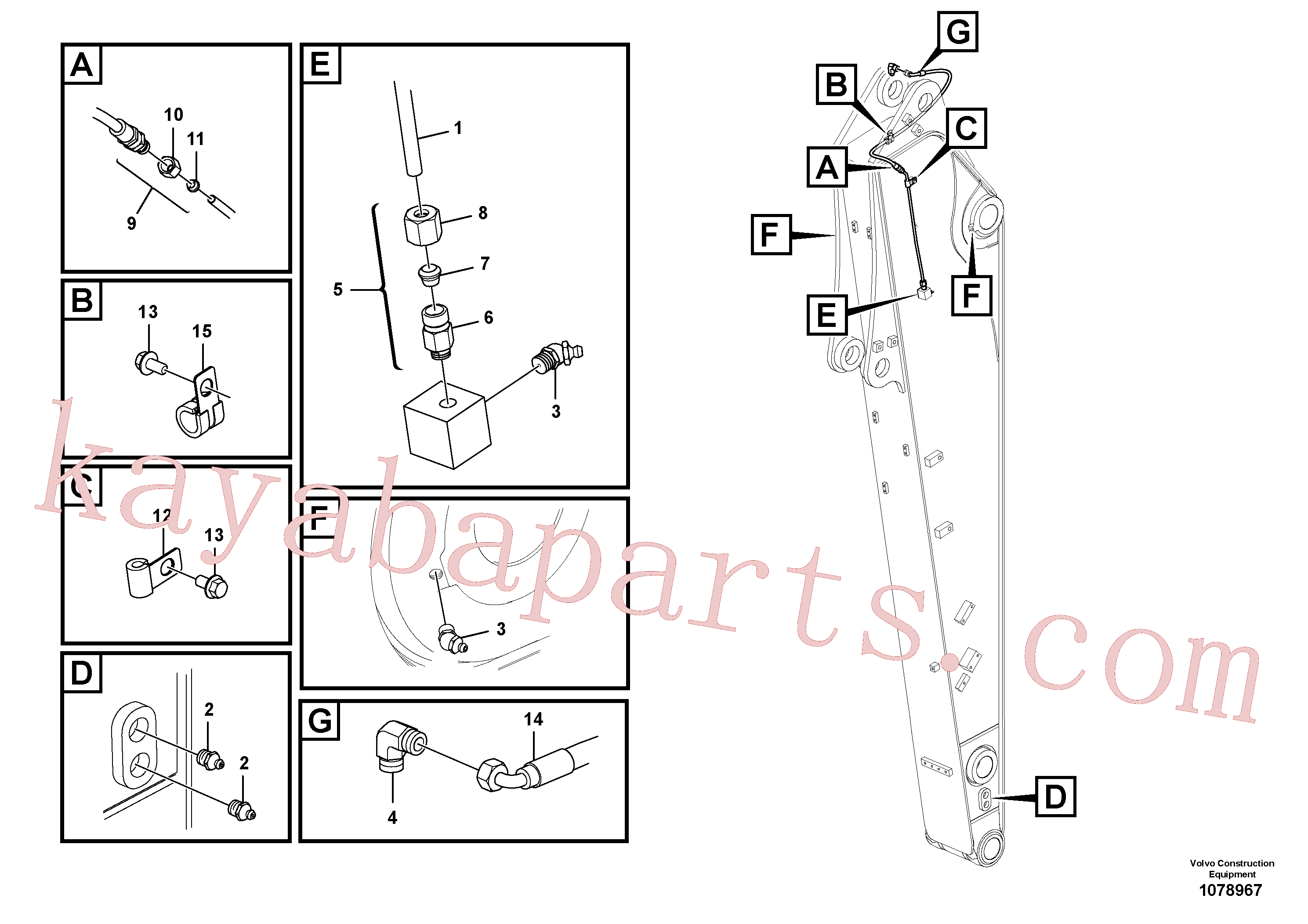 VOE14880870 for Volvo Grease piping(1078967 assembly)