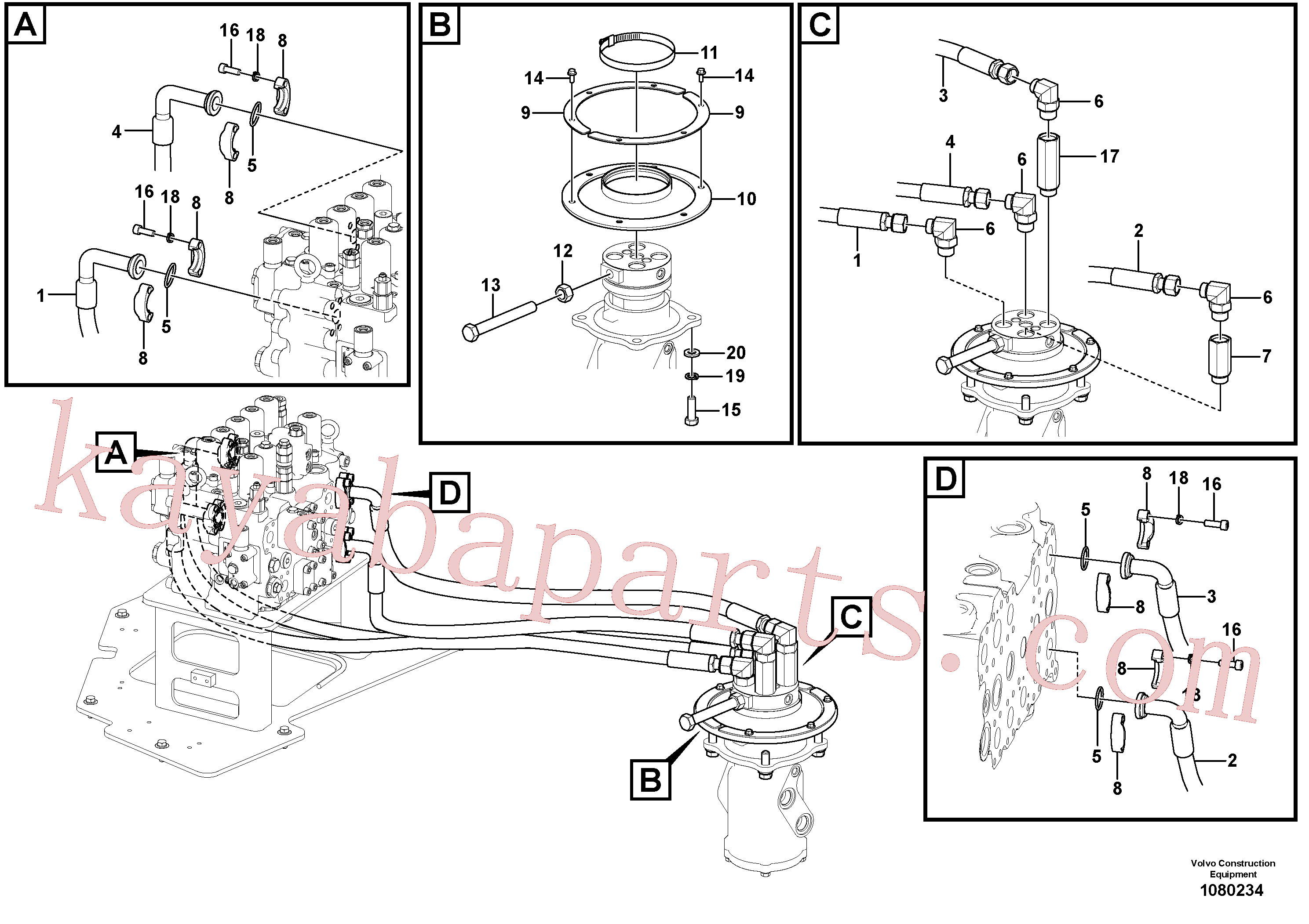VOE14545877 for Volvo Turning joint line, control valve to turning joint(1080234 assembly)