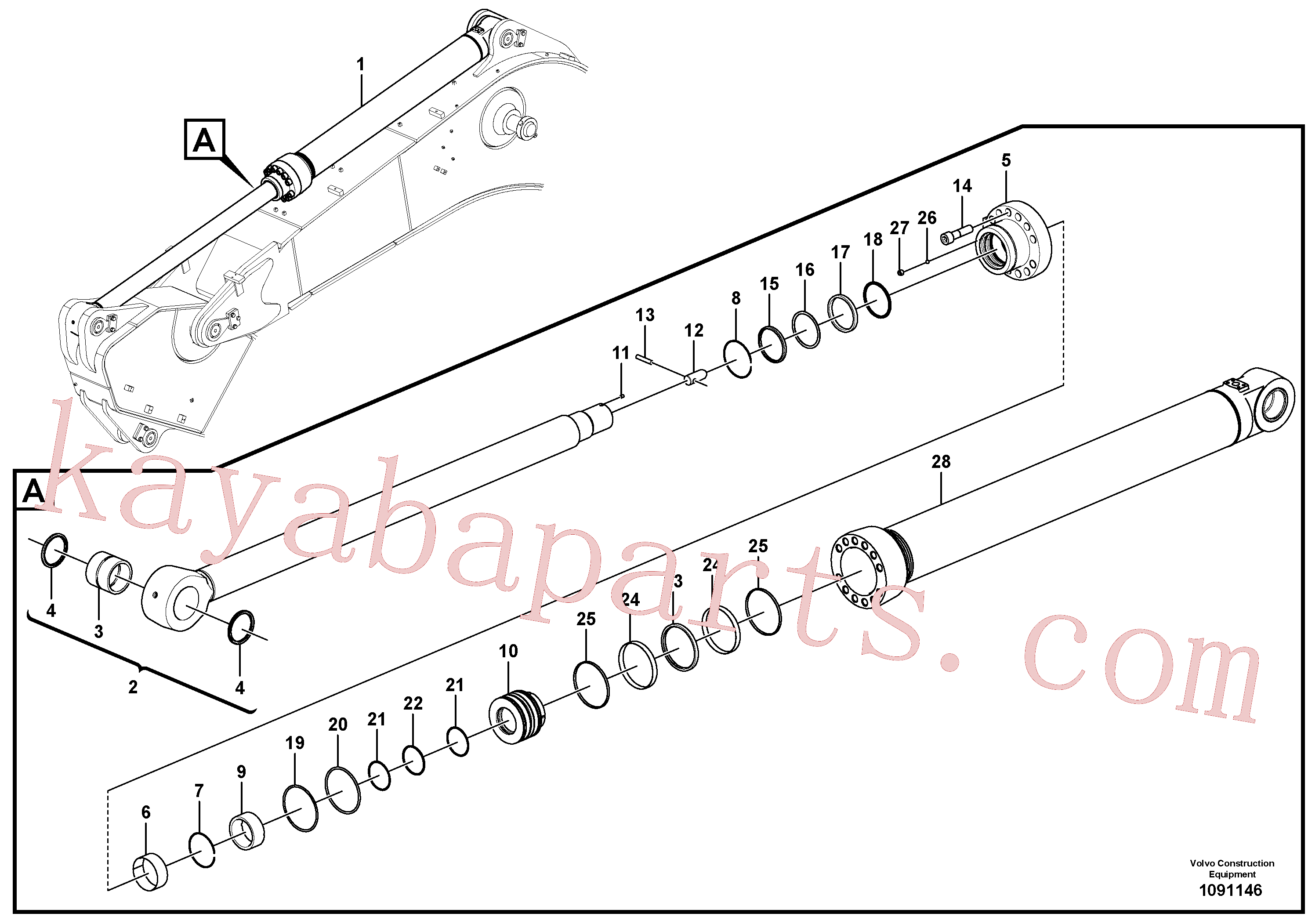 VOE14588979 for Volvo Dipper arm cylinder(1091146 assembly)
