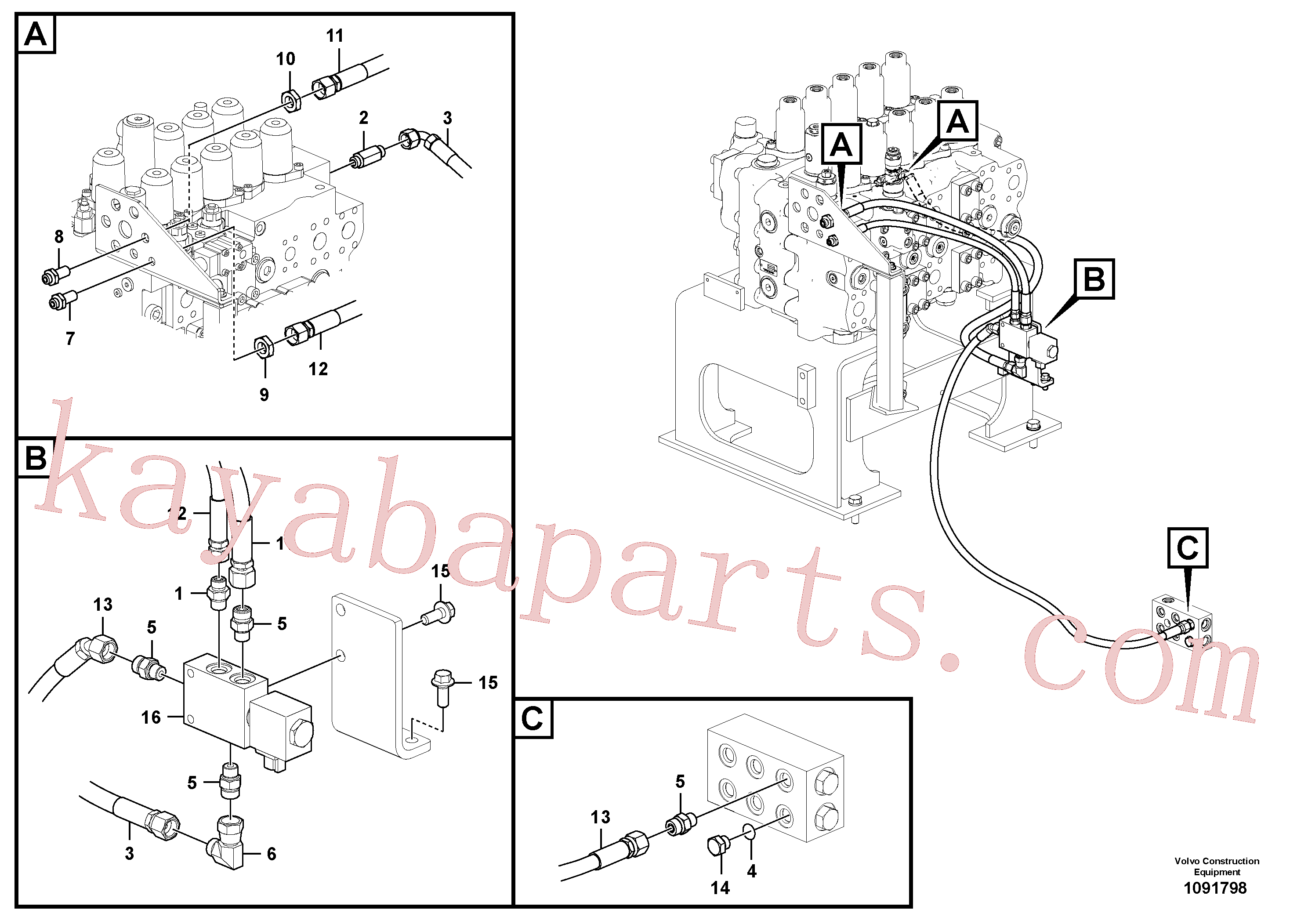 VOE936180 for Volvo Working hydraulic, quick fit on upper frame(1091798 assembly)