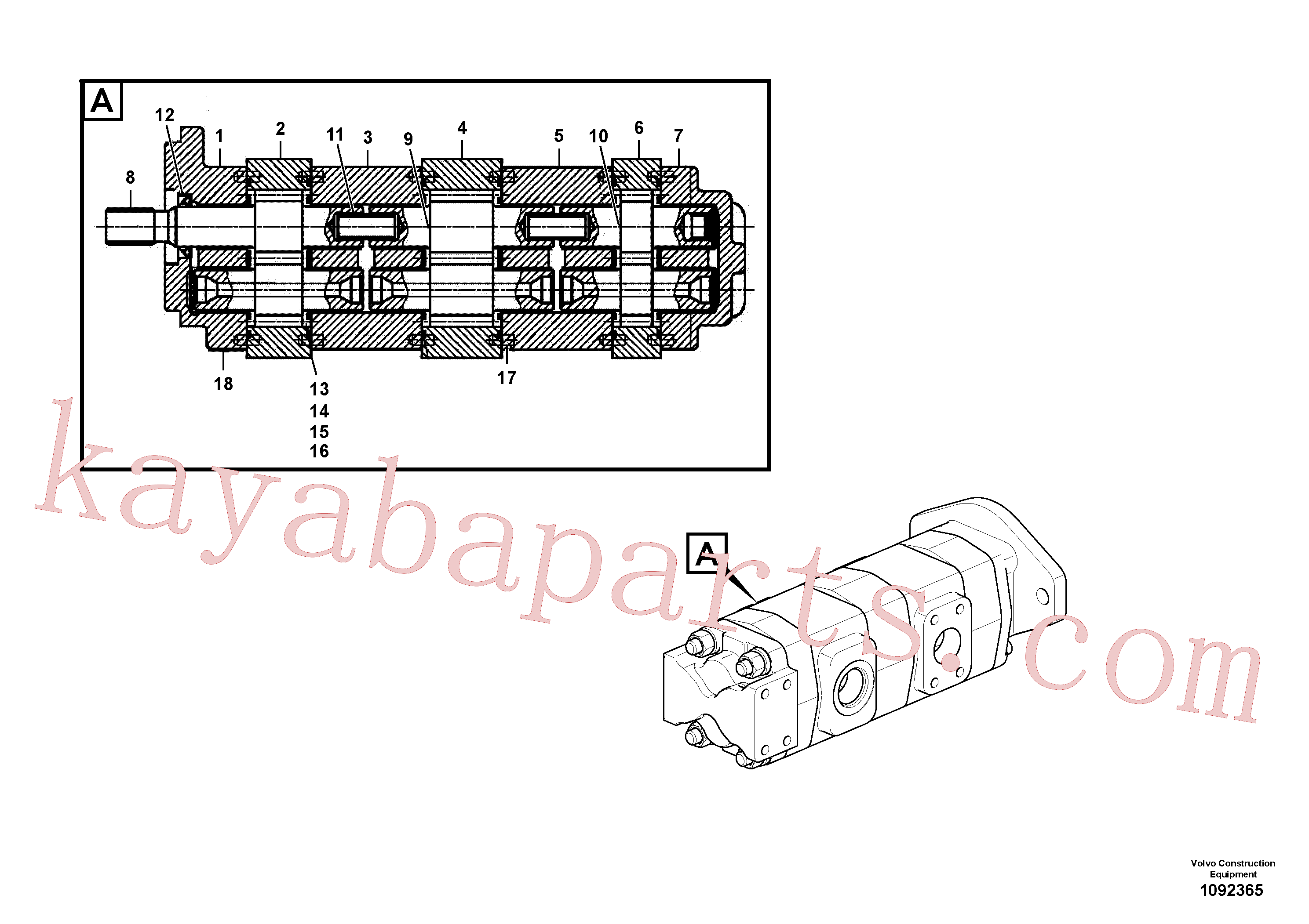 VOE14551886 for Volvo Hydraulic pump(1092365 assembly)