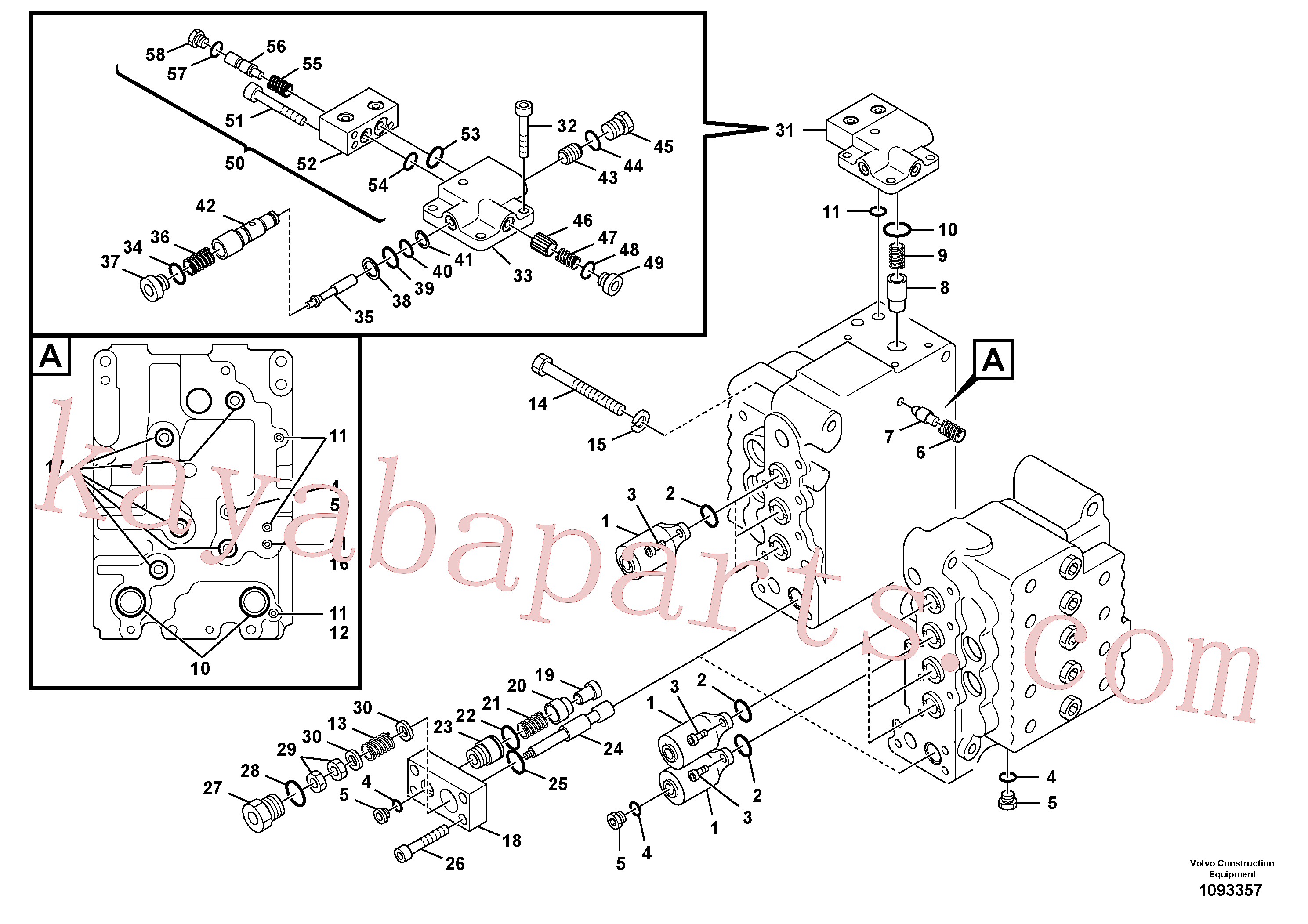 VOE14732809 for Volvo Main control valve, relief valve and boom holding(1093357 assembly)