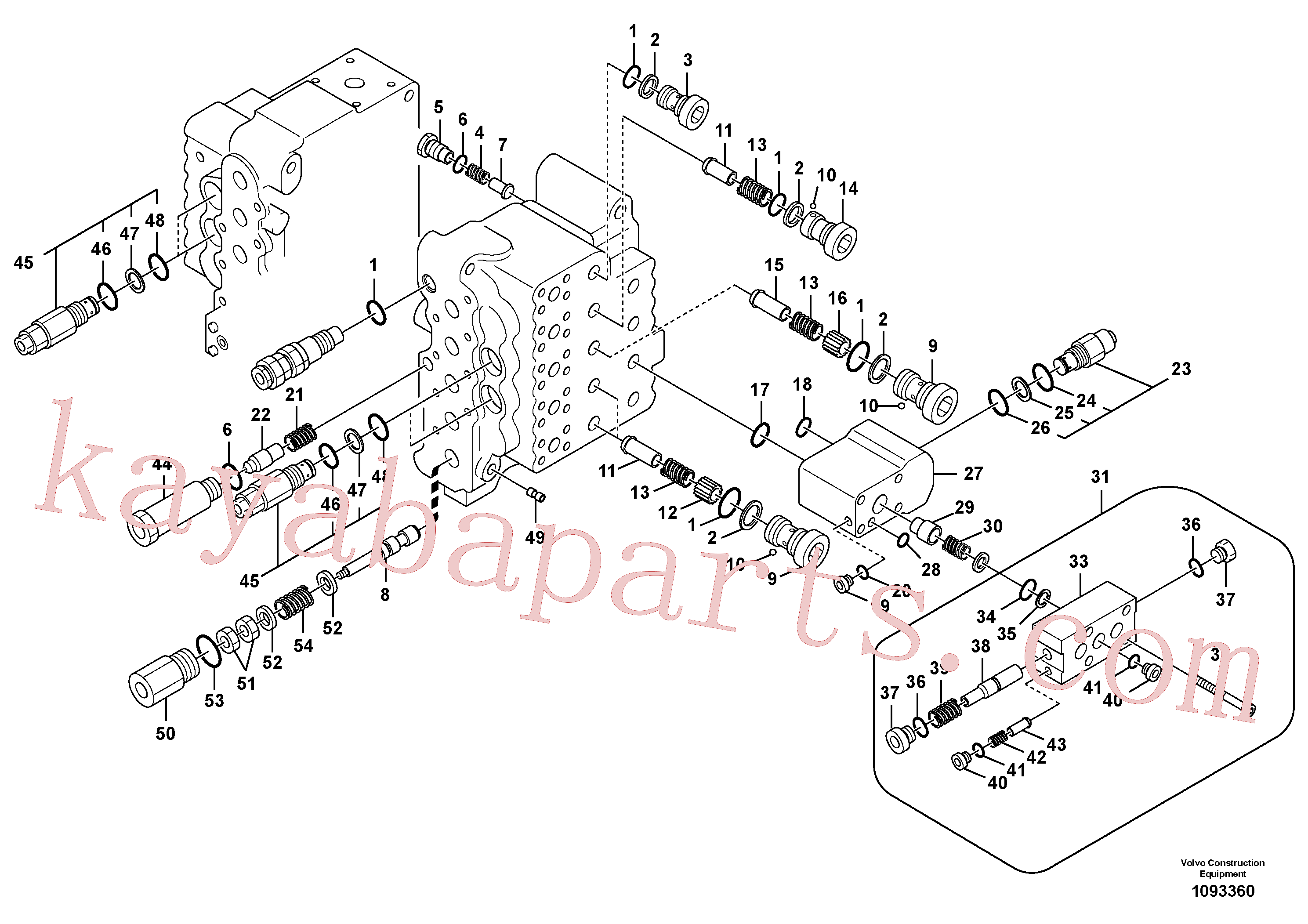 VOE14535496 for Volvo Main control valve, relief valve and dipper arm holding(1093360 assembly)