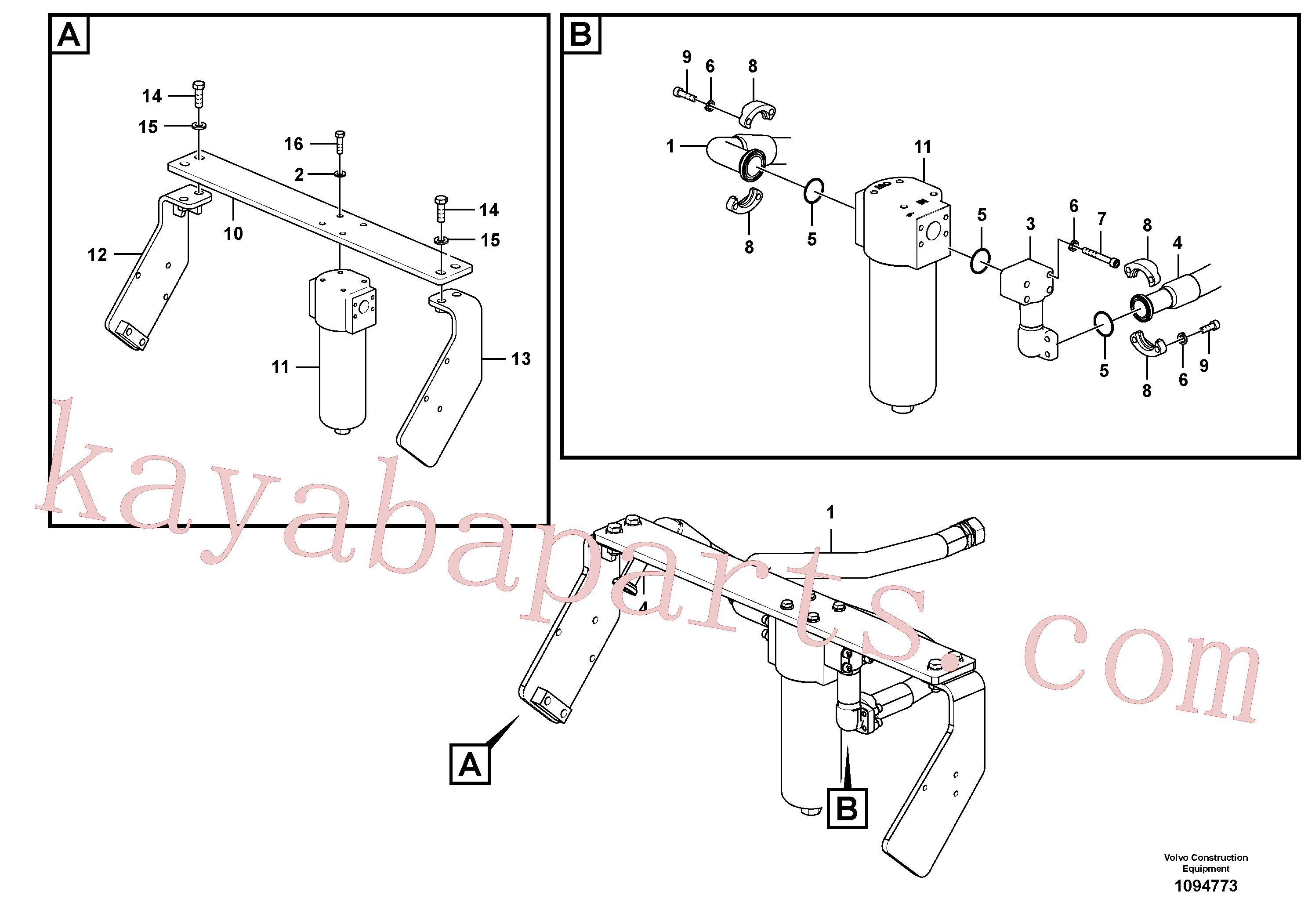 VOE14727999 for Volvo Working hydraulic, hammer and shear for return filter(1094773 assembly)